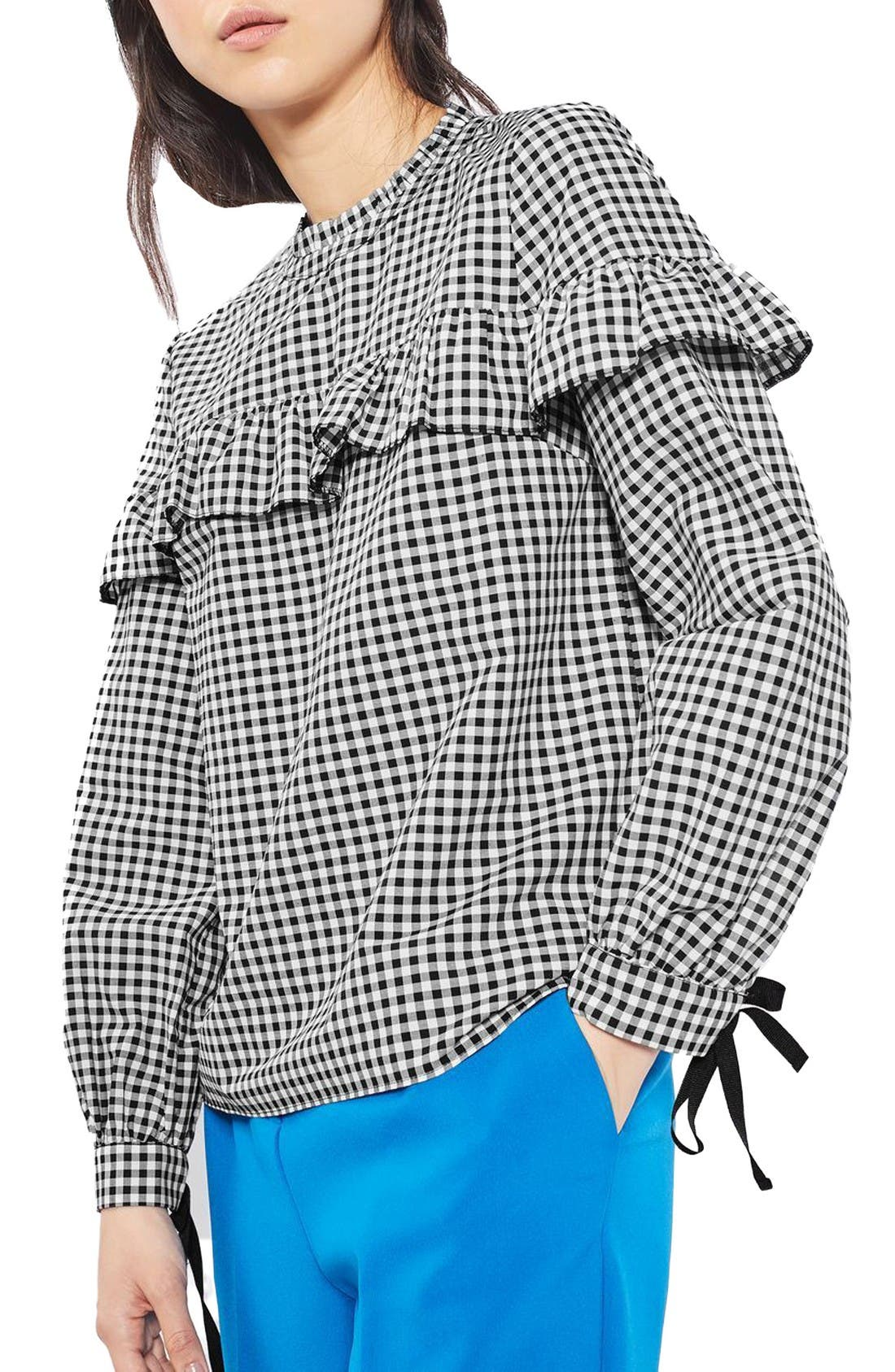 Alternate Image 1 Selected - Topshop Pixie Ruffle Gingham Top