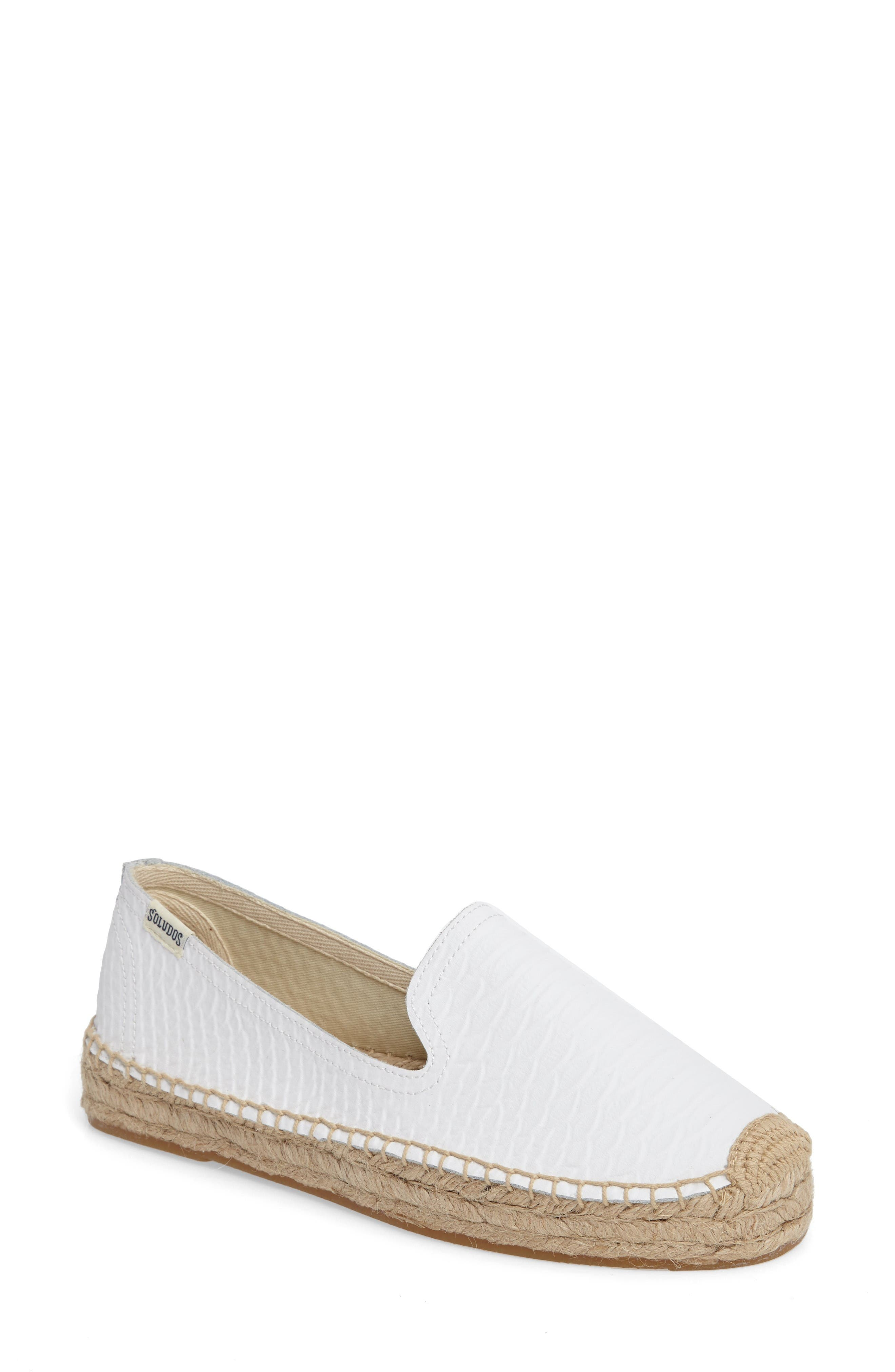 Espadrille Flat,                         Main,                         color, White Leather
