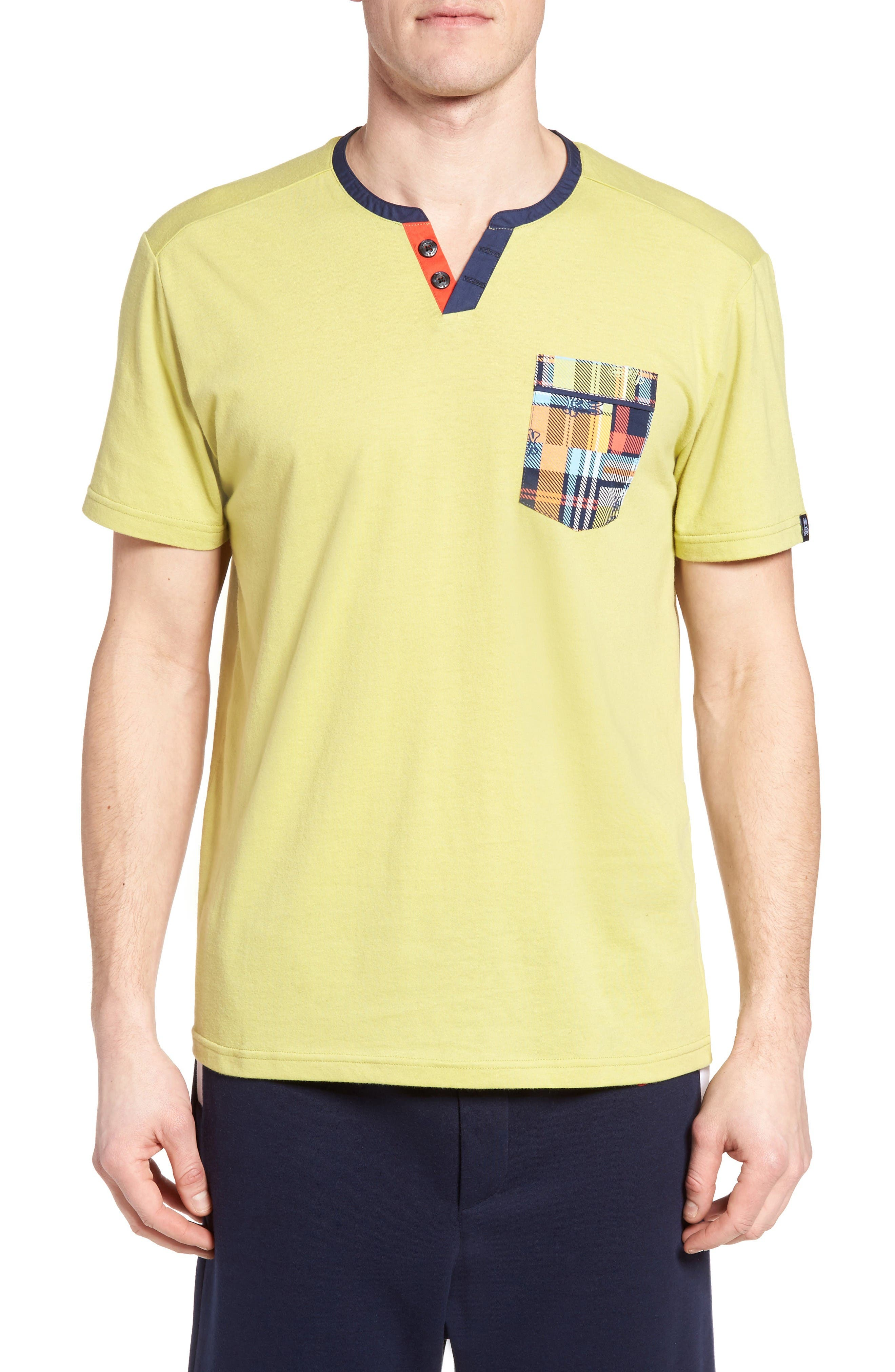 Pocket Henley Lounge T-Shirt,                         Main,                         color, Tea Leaves