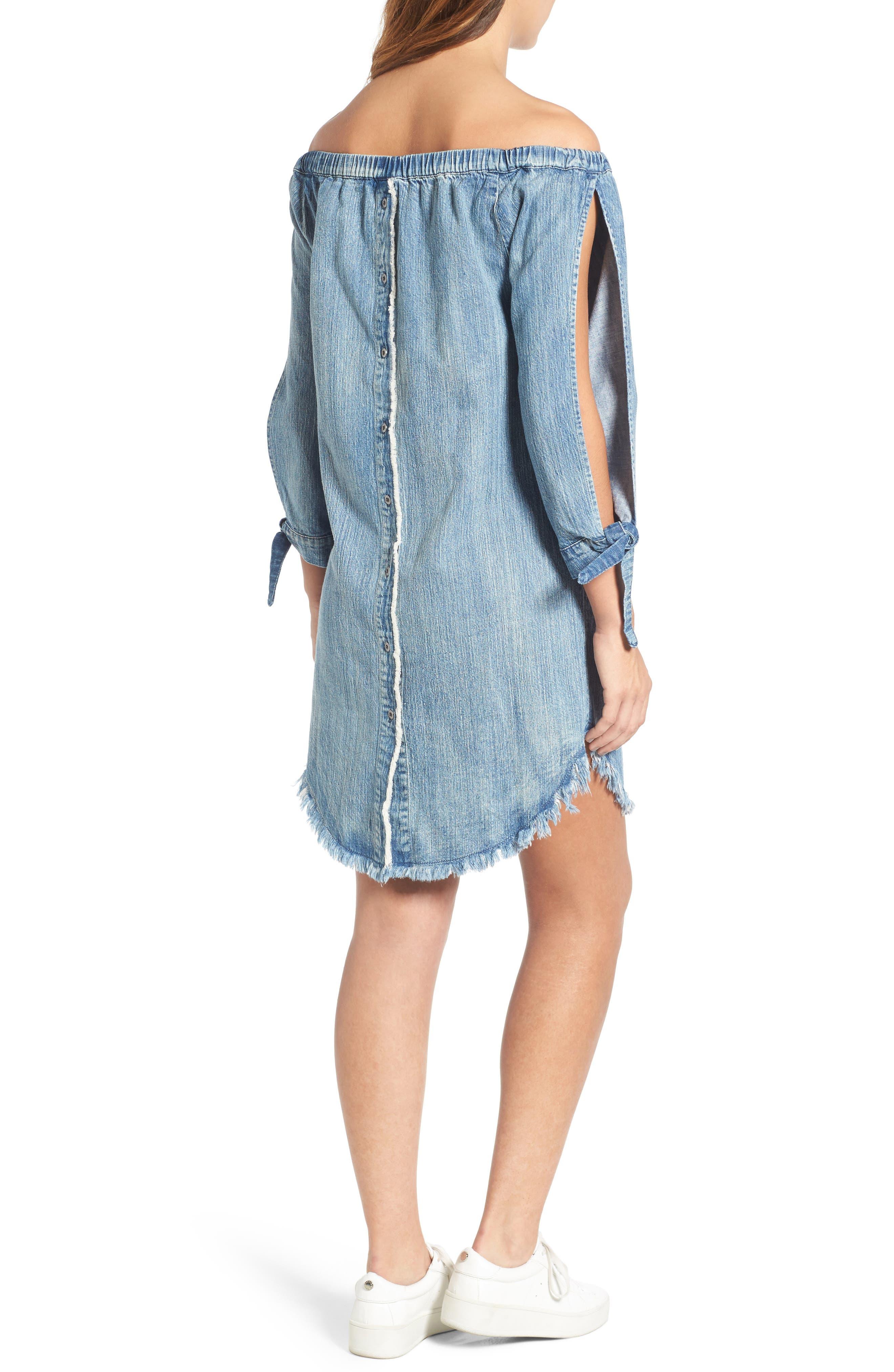 Alternate Image 2  - BILLY T Slit Sleeve Denim Dress