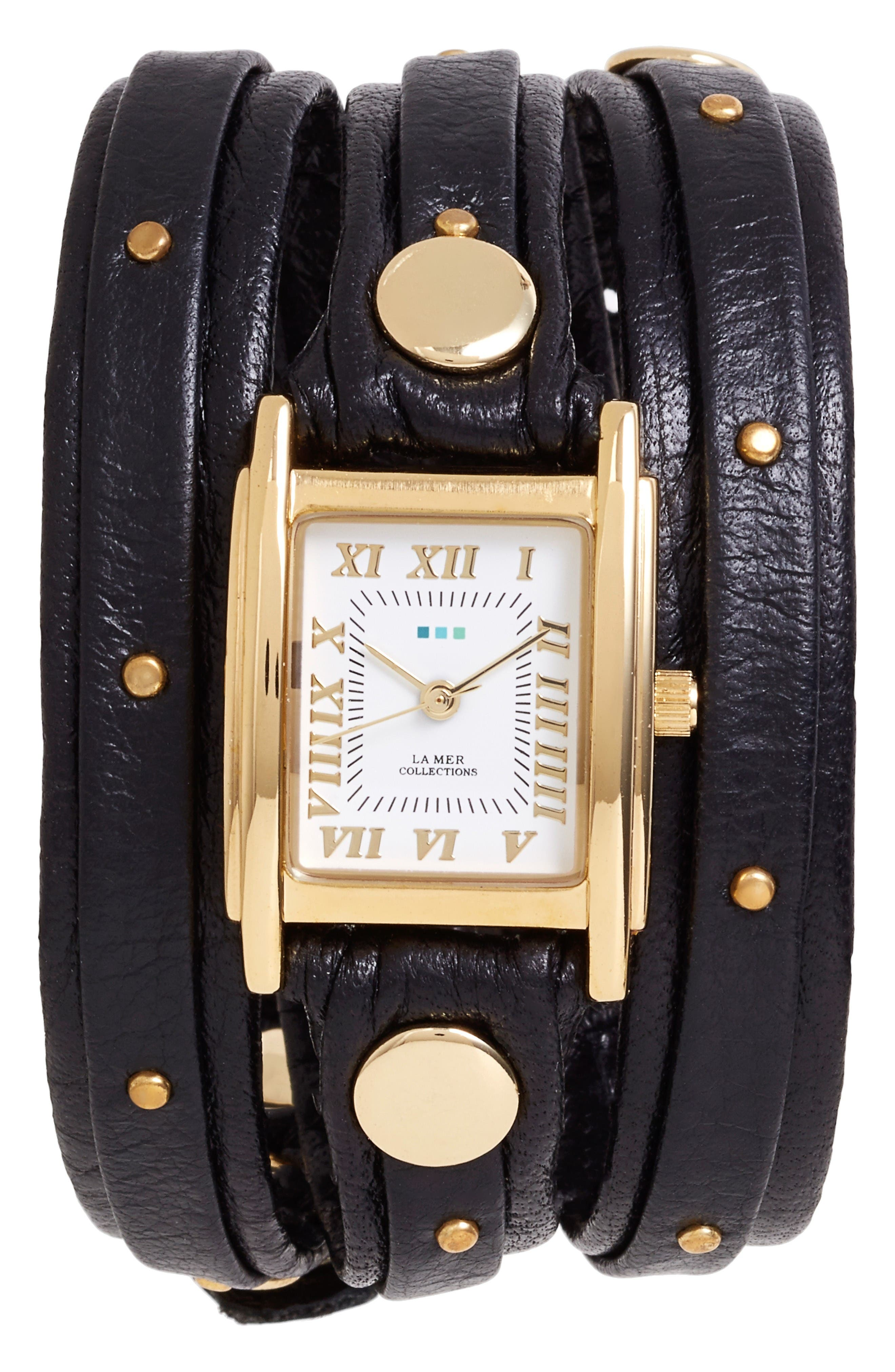 Studded Leather Wrap Watch, 19mm,                             Main thumbnail 1, color,                             Black/ Gold