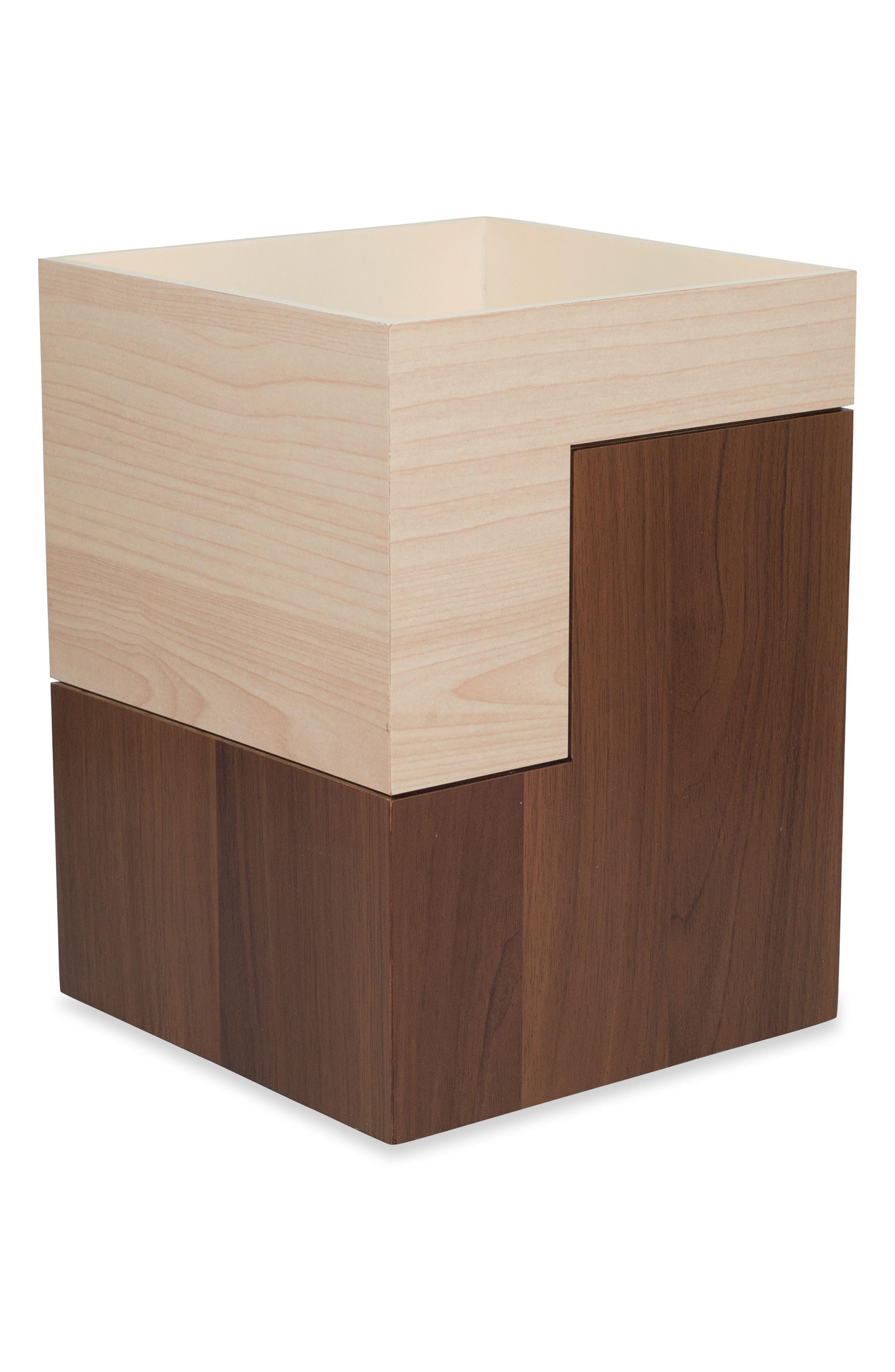 DKNY Veneer Wood Block Waste Basket