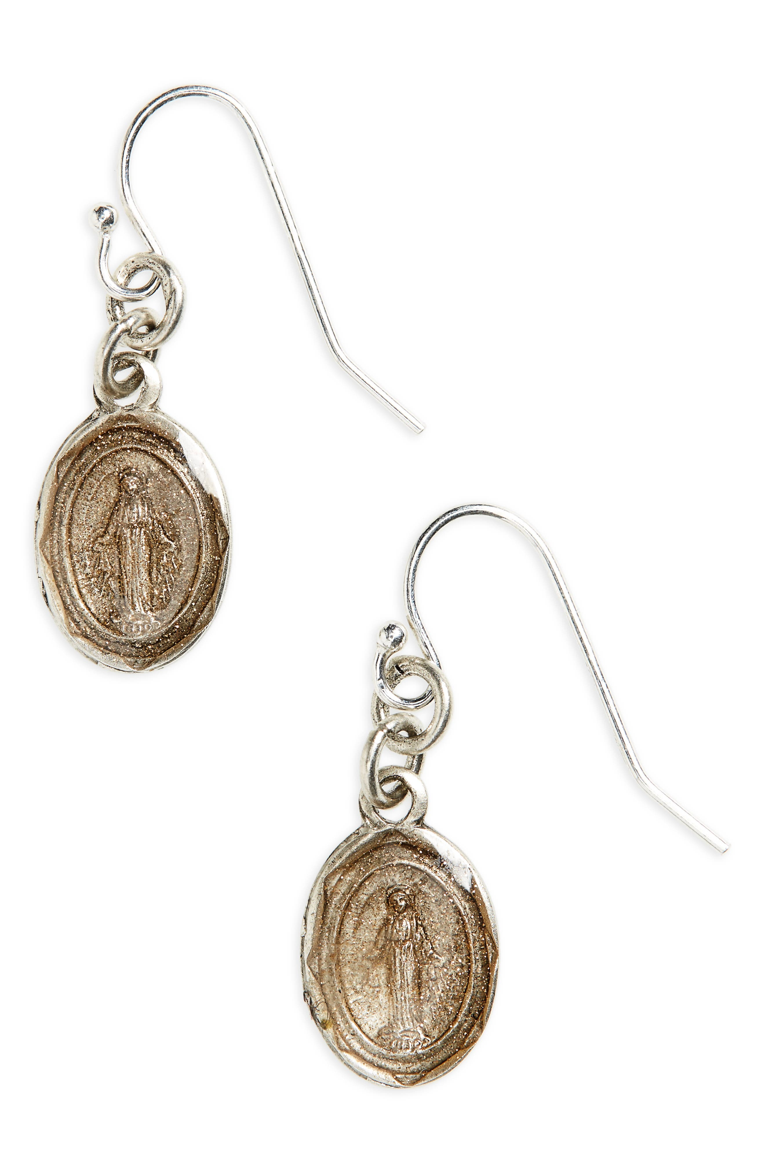 VIRGINS SAINTS & ANGELS Les Celeste Virgin of Miracles Drop Earrings