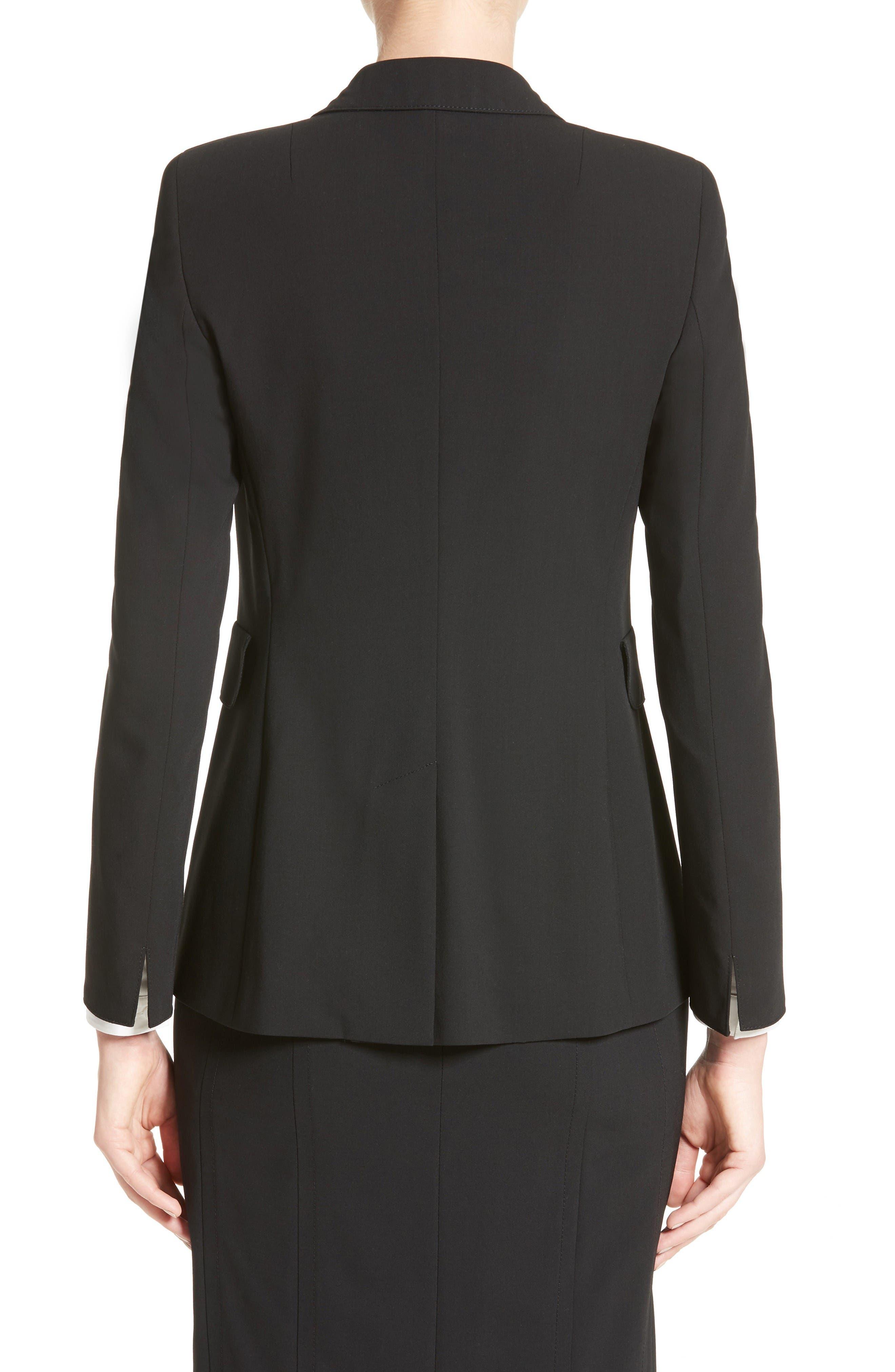 Long One-Button Jacket,                             Alternate thumbnail 2, color,                             Black