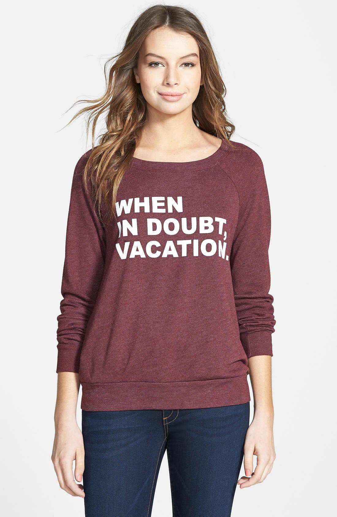 Alternate Image 1 Selected - Project Social T 'When in Doubt, Vacation' Raglan Sleeve Sweatshirt