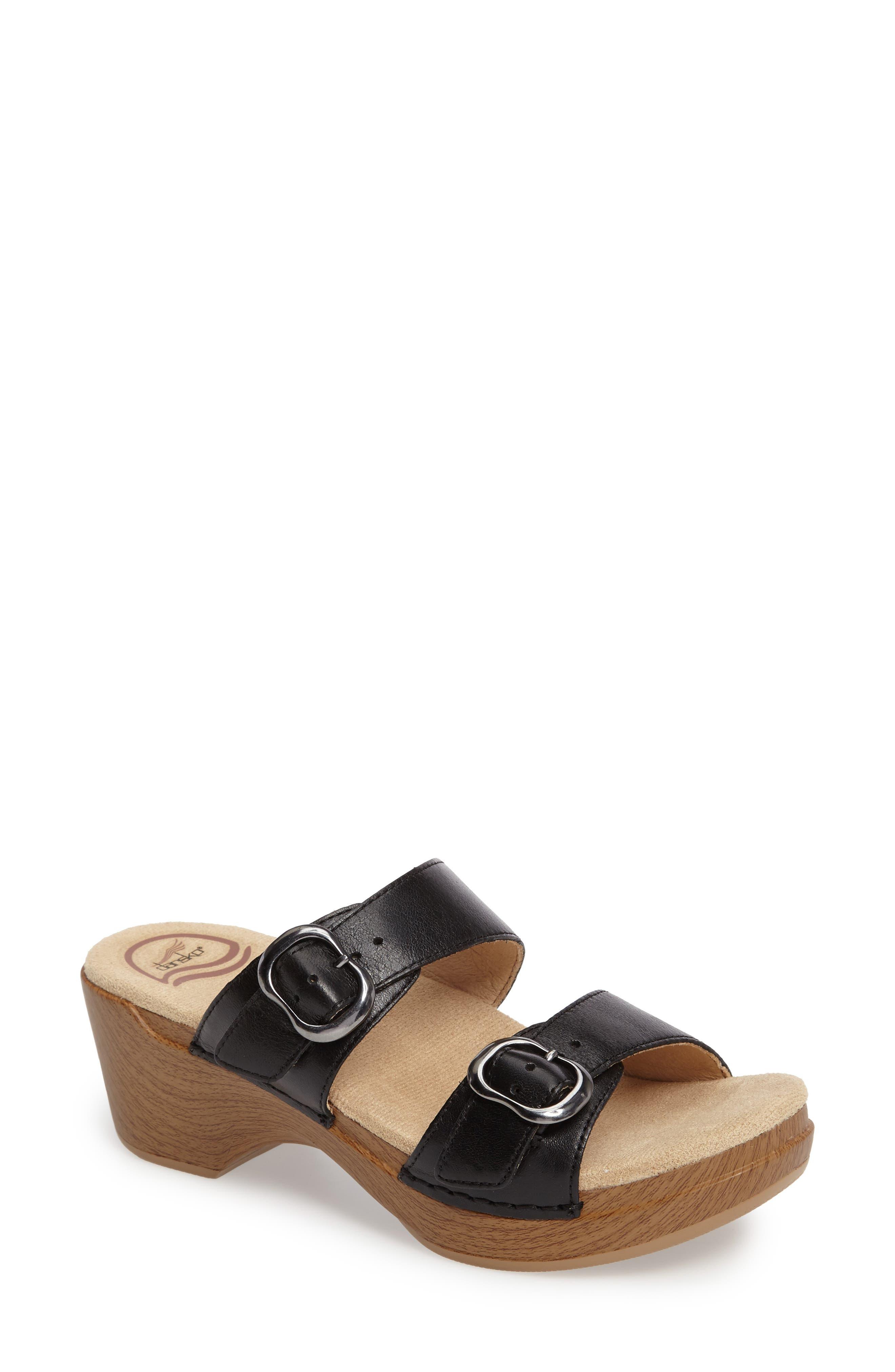 'Sophie' Sandal,                         Main,                         color, Black Full Grain Leather