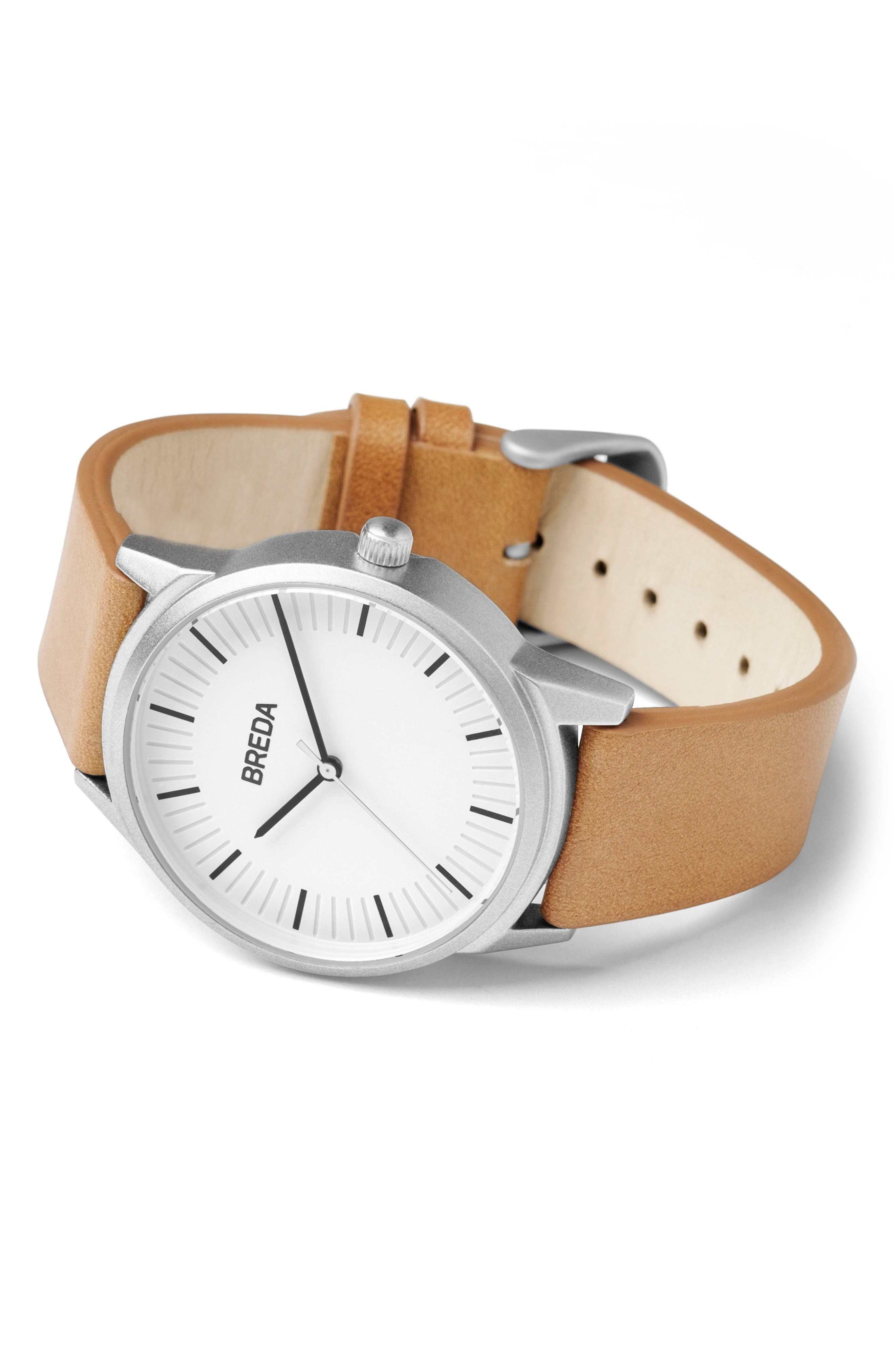 Alternate Image 2  - BREDA Bresson Leather Strap Watch, 42mm