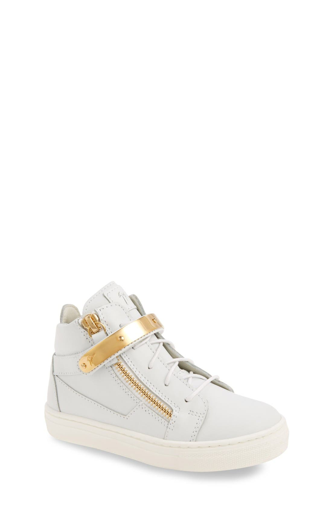 High Top Sneaker,                             Main thumbnail 1, color,                             White Smooth