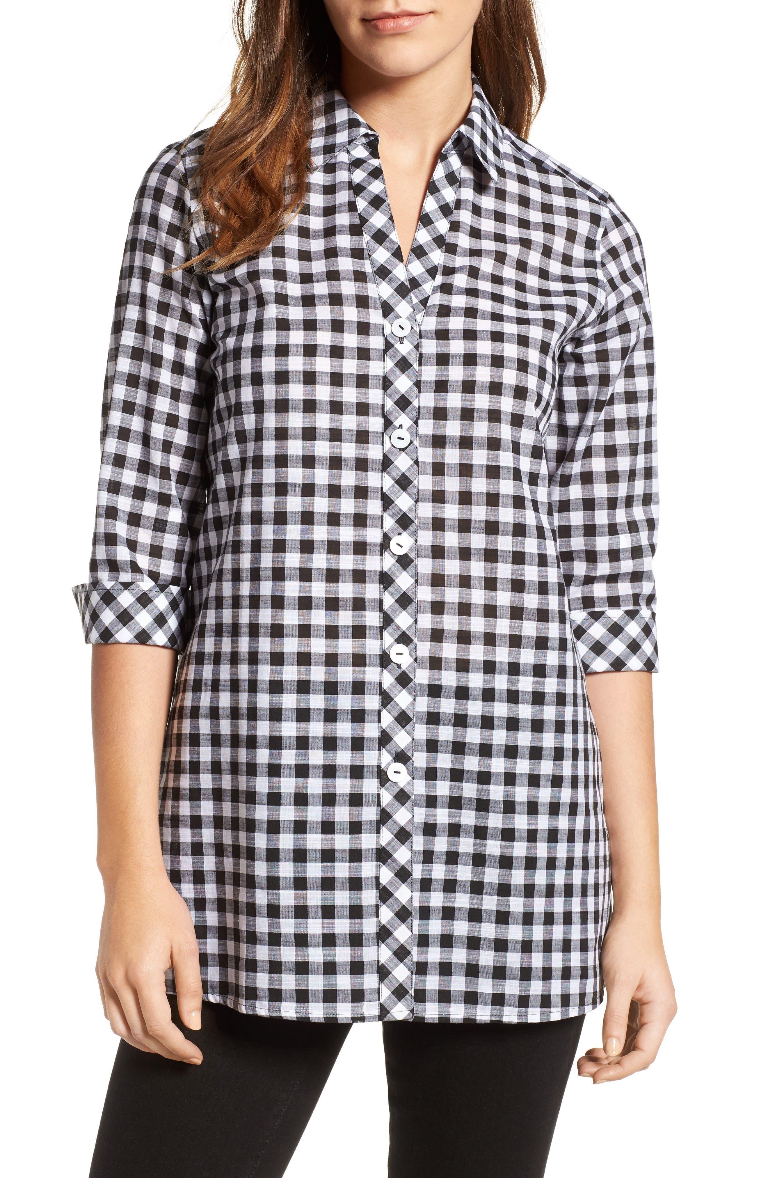 Gingham Cotton Tunic Shirt,                             Main thumbnail 1, color,                             Black
