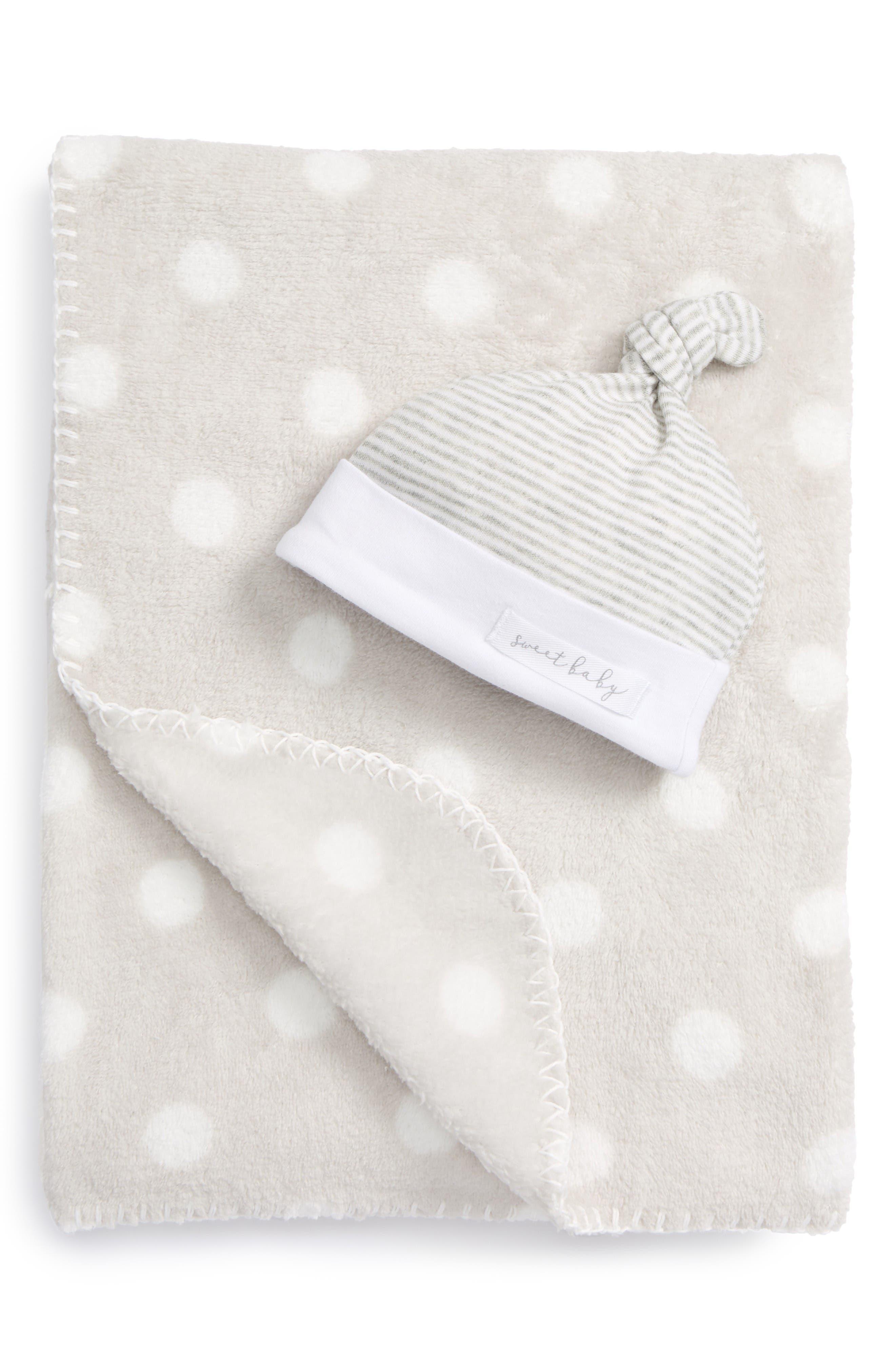 Sweet Baby Receiving Blanket & Hat Set,                         Main,                         color, Grey