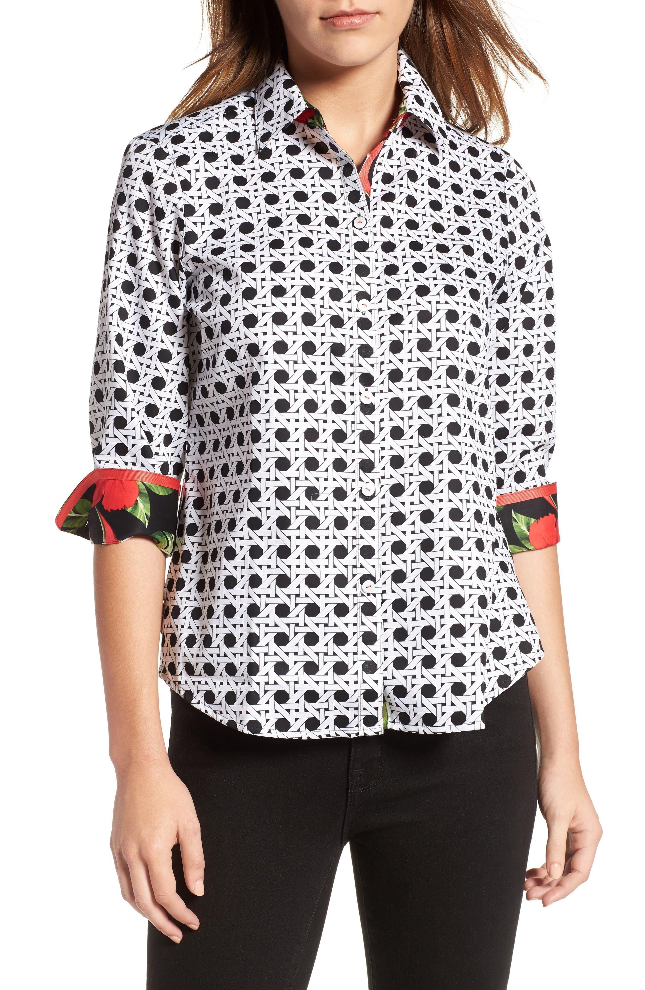 FOXCROFT Wicker Print Shirt
