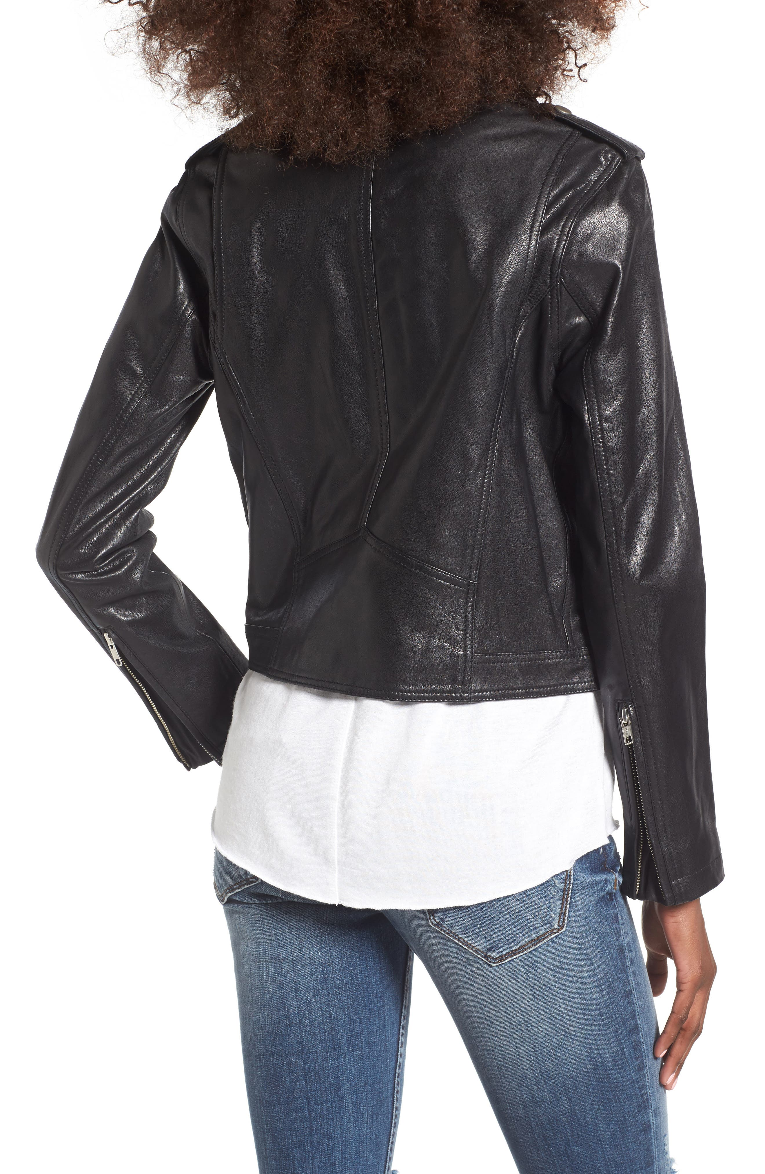 Diablo City Leather Moto Jacket,                             Alternate thumbnail 2, color,                             Black