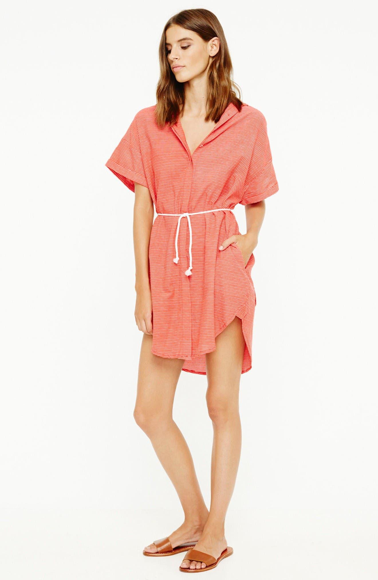 Avalon Cotton Shirtdress,                             Alternate thumbnail 2, color,                             Deep Sea Print Red