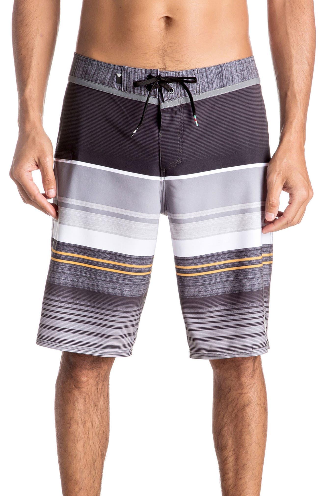 Everyday Stripe Board Shorts,                         Main,                         color, Tarmac