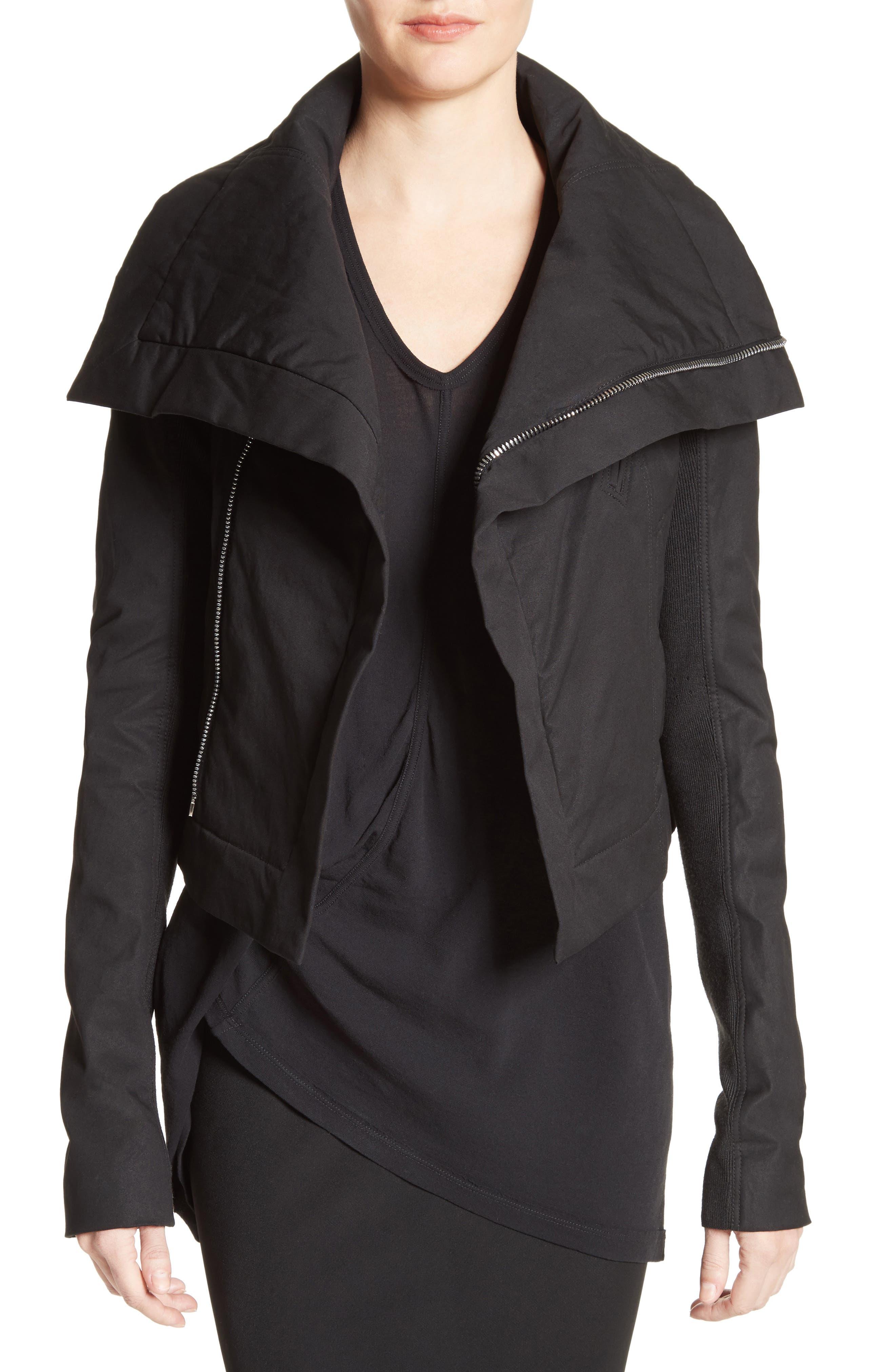 Stretch Cotton Biker Jacket,                         Main,                         color, Black