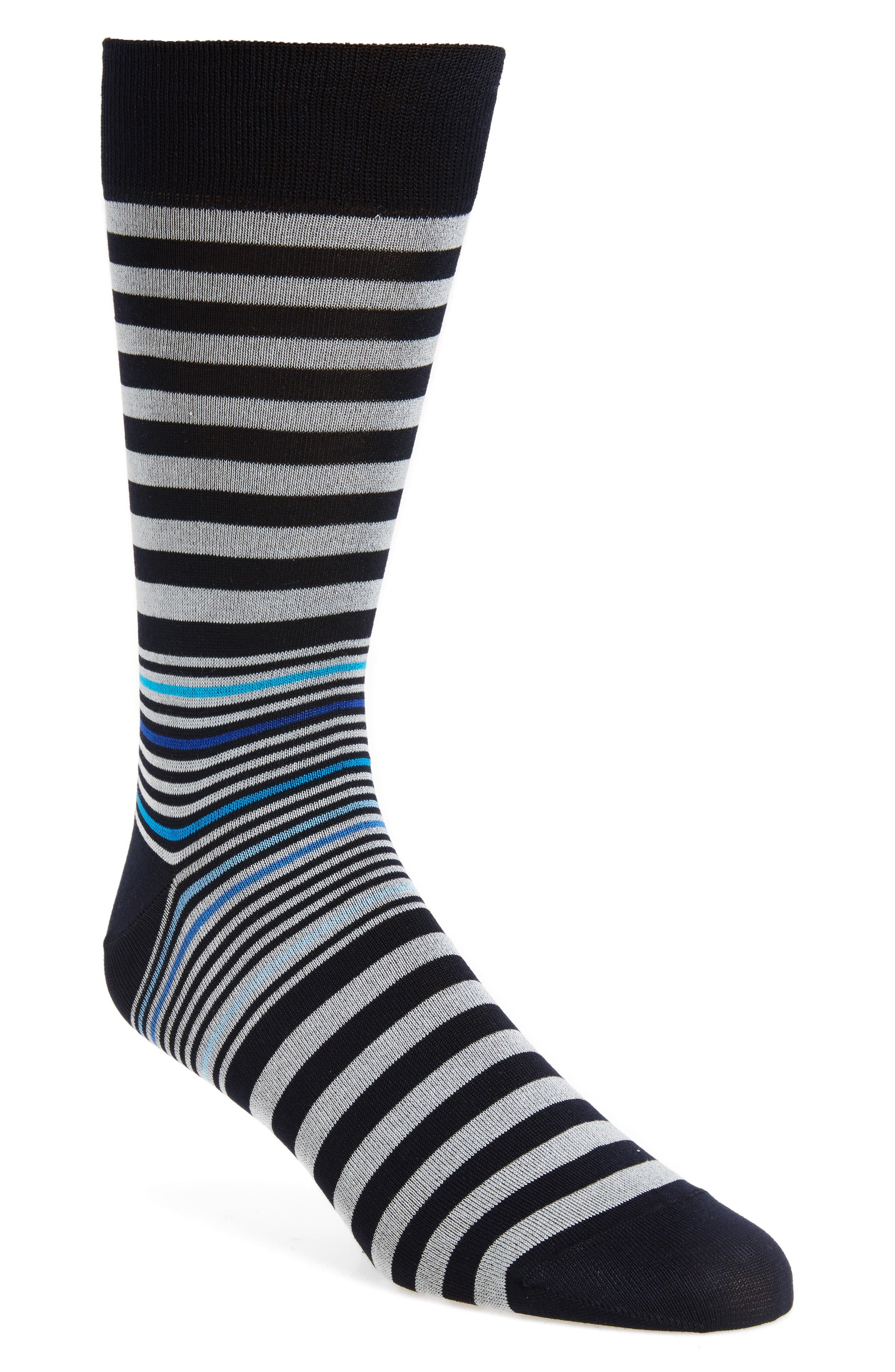 Stripe Socks,                         Main,                         color, Midnight