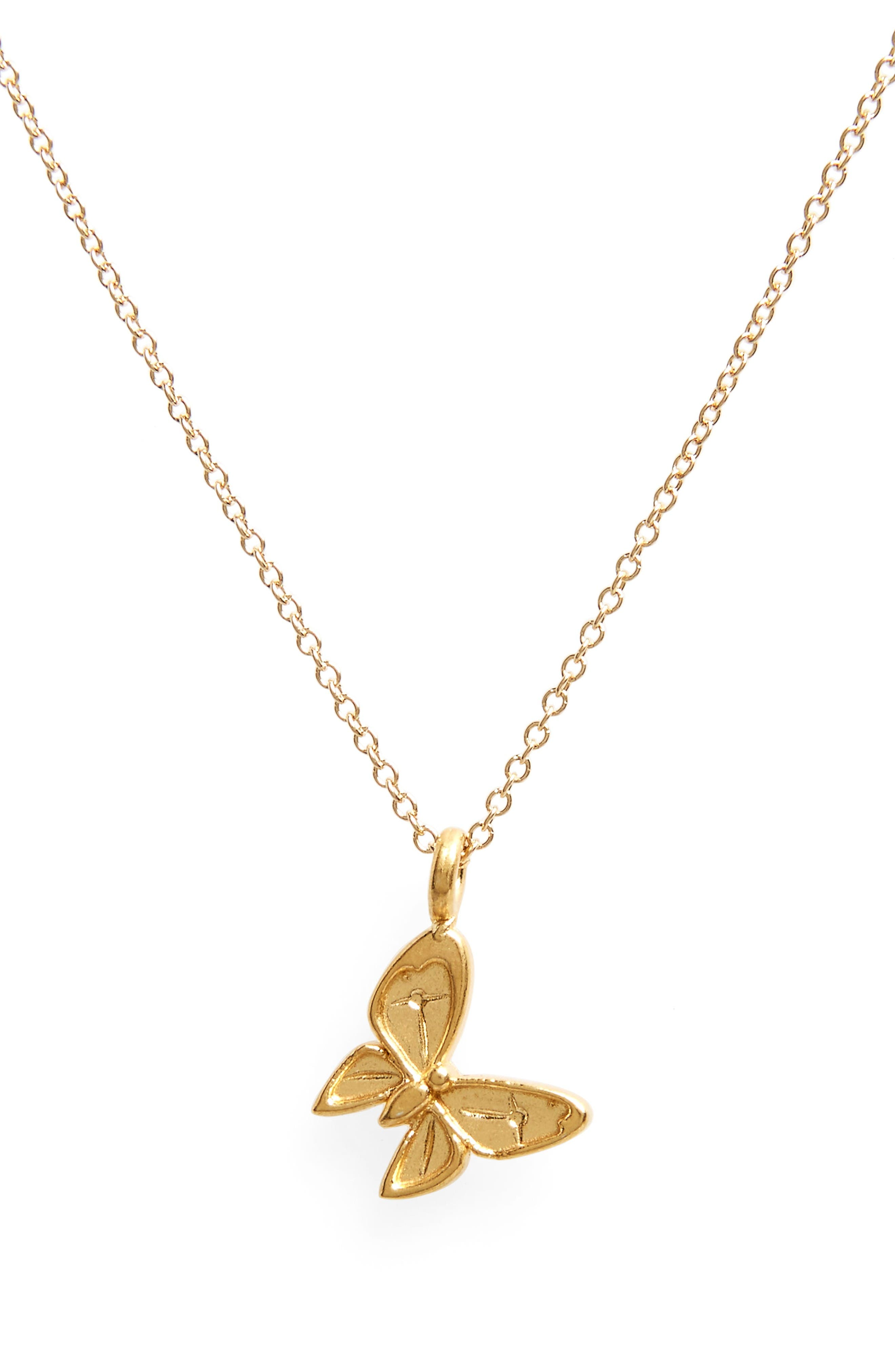 Butterfly Pendant Necklace,                             Alternate thumbnail 2, color,                             Gold