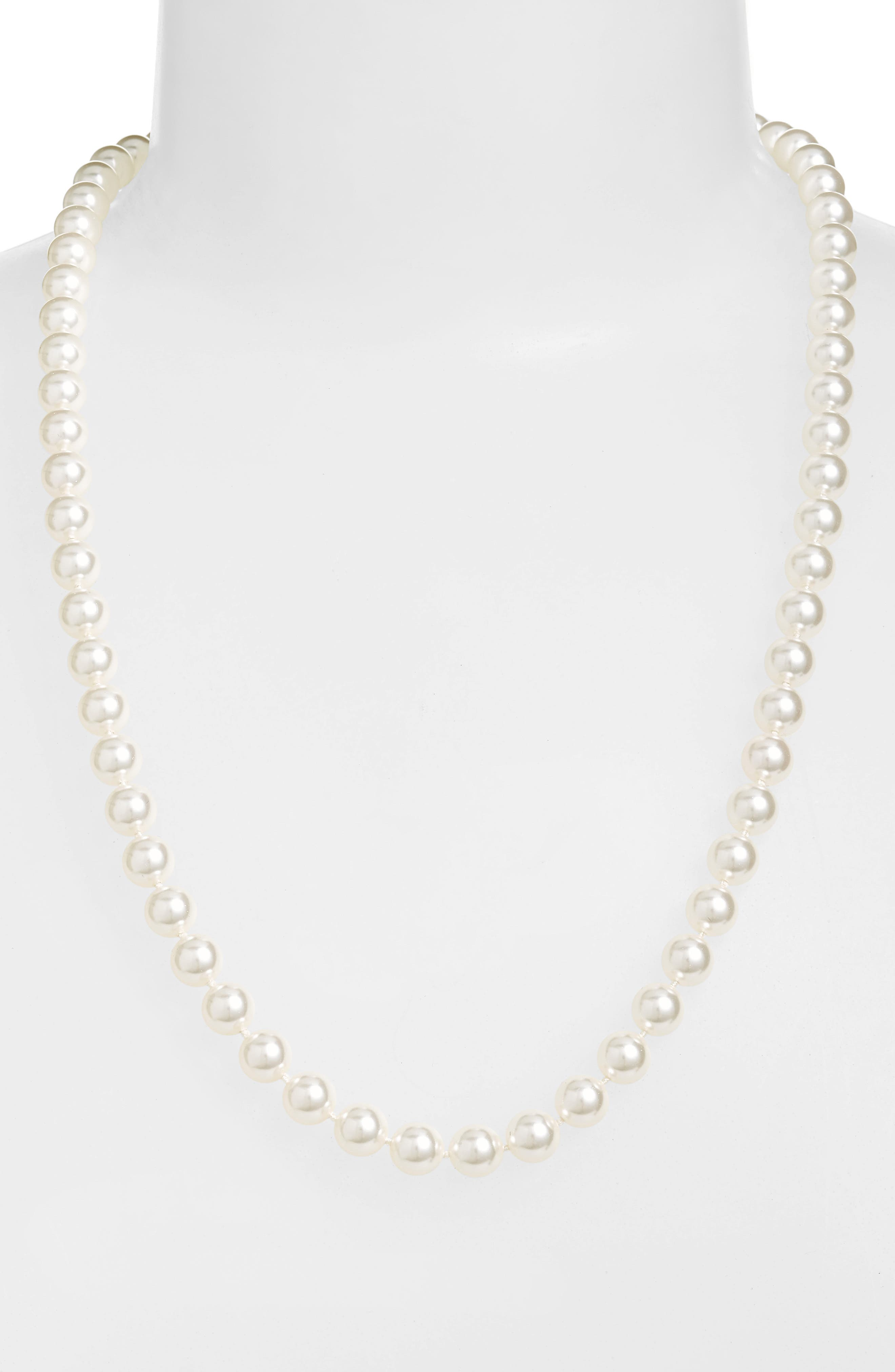 24-Inch Glass Pearl Strand Necklace,                             Main thumbnail 1, color,                             White Pearl