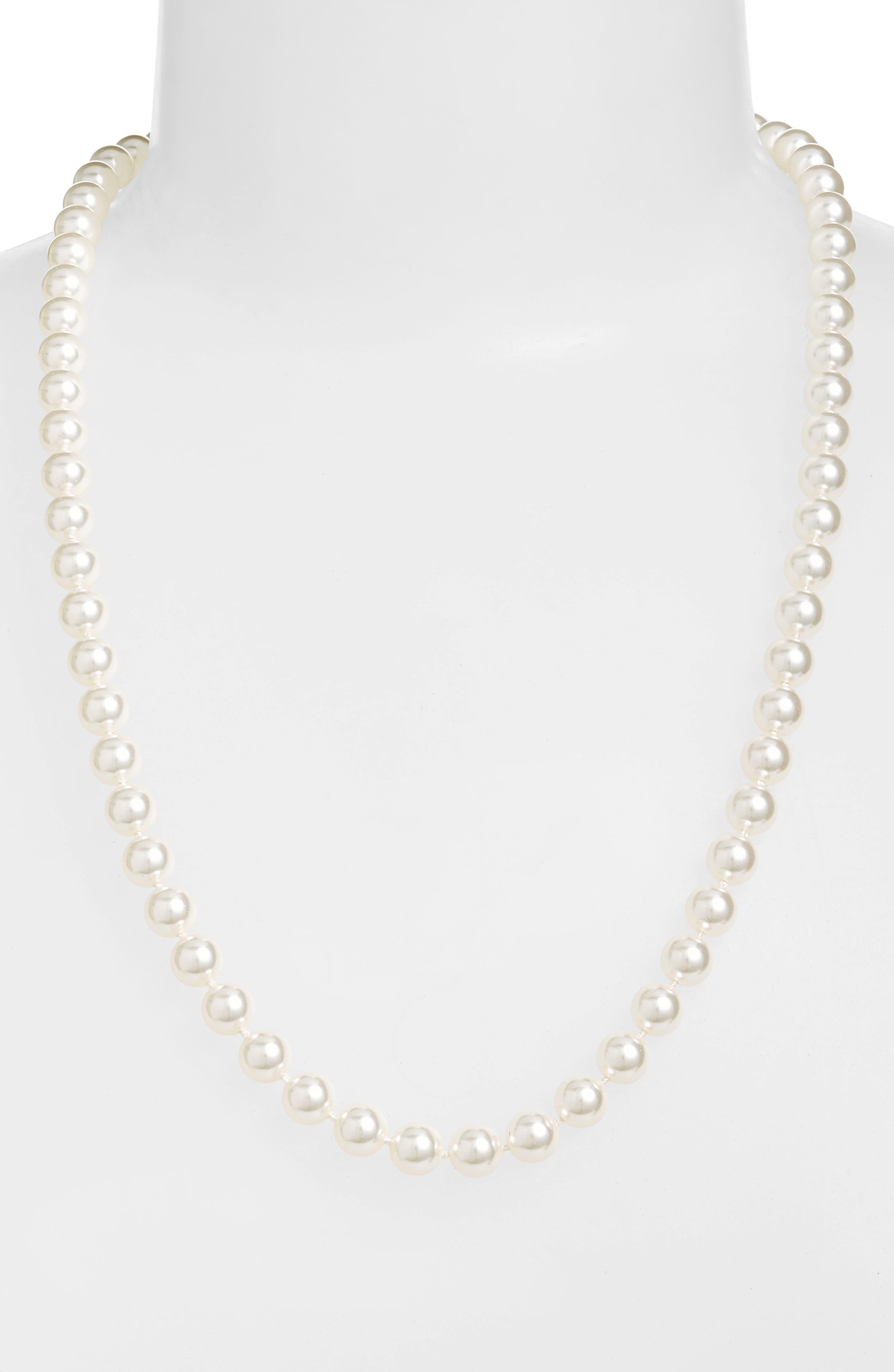 Nadri 24-Inch Glass Pearl Strand Necklace