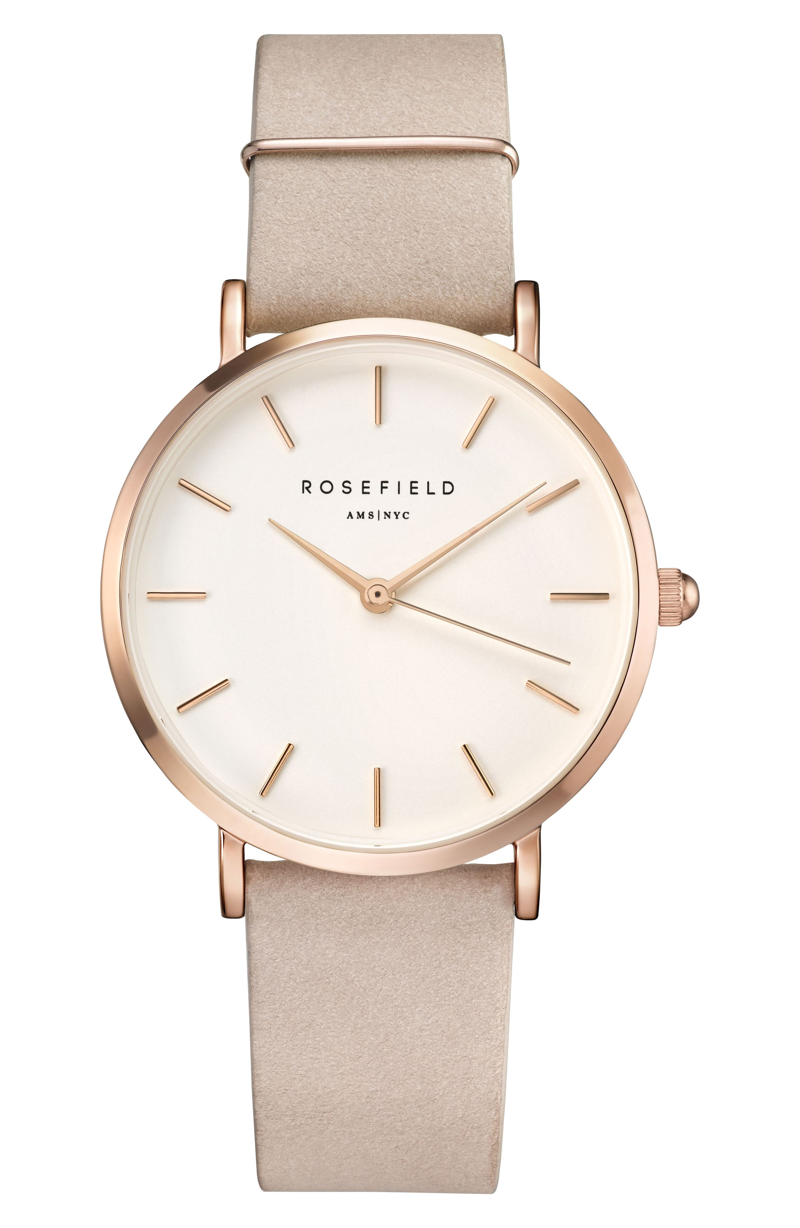 Rosefield West Village Leather Strap Watch, 33mm