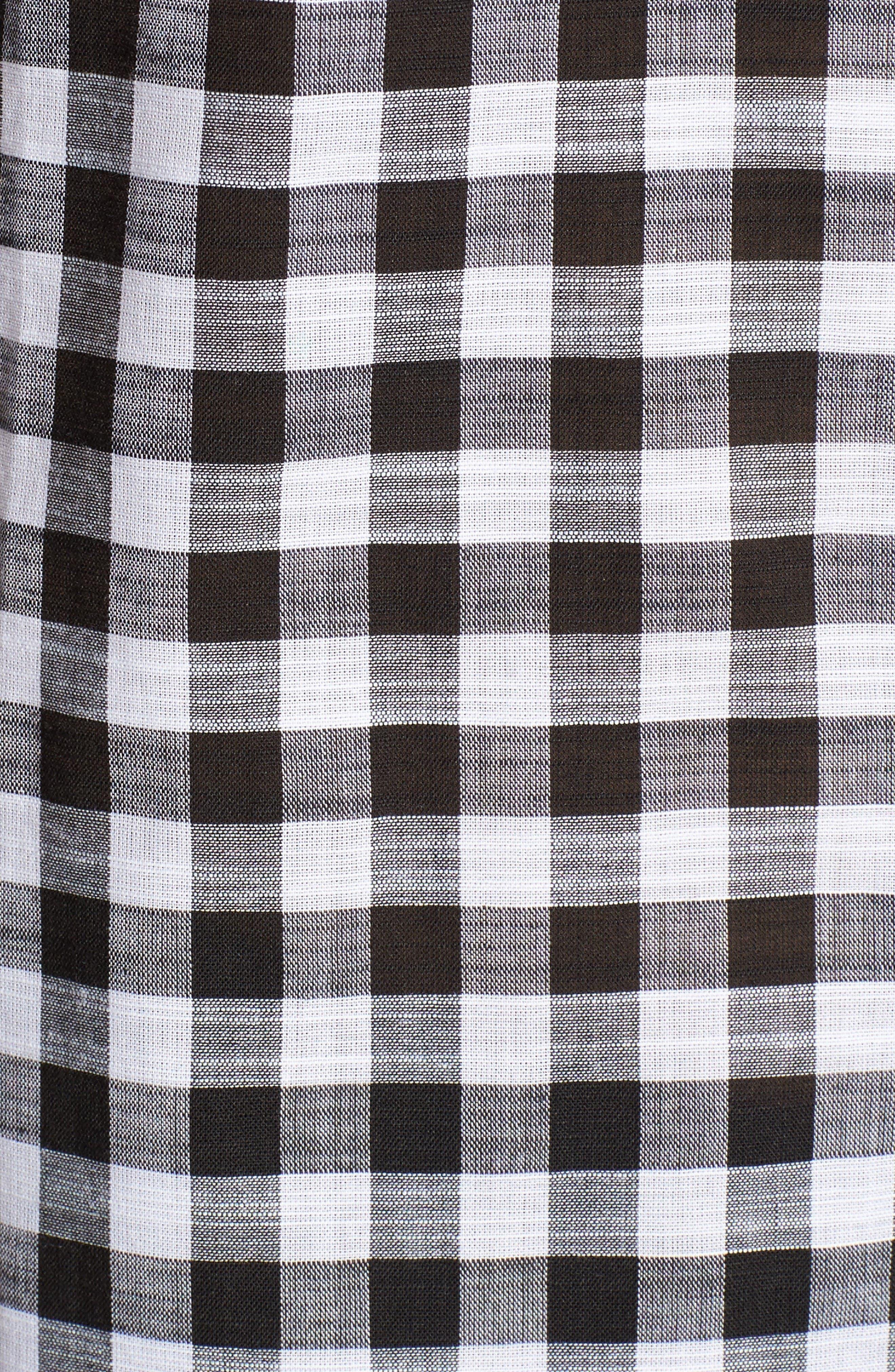 Gingham Cotton Tunic Shirt,                             Alternate thumbnail 5, color,                             Black