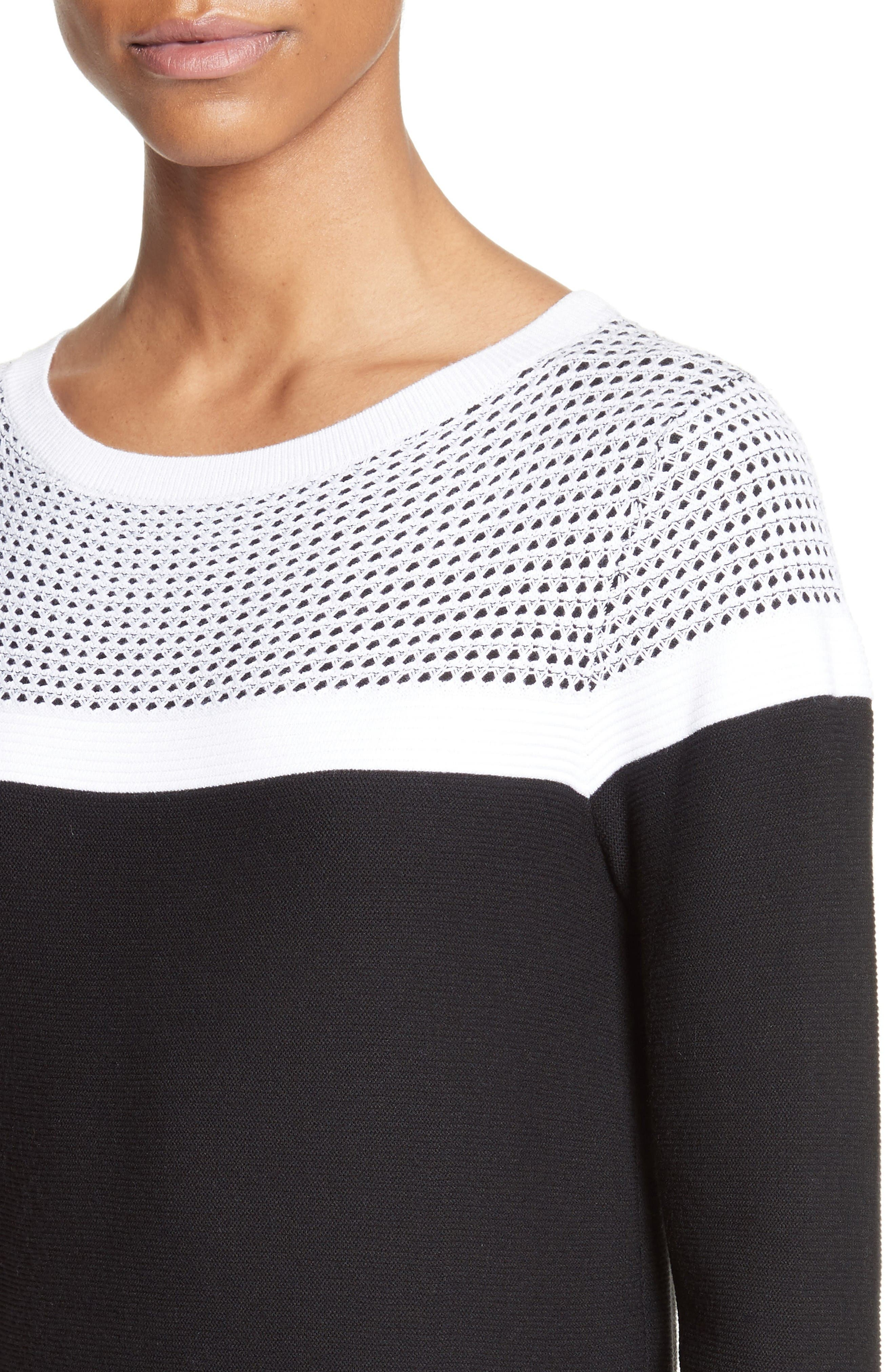 Alternate Image 4  - St. John Collection Technical Mesh Stitch Sweater