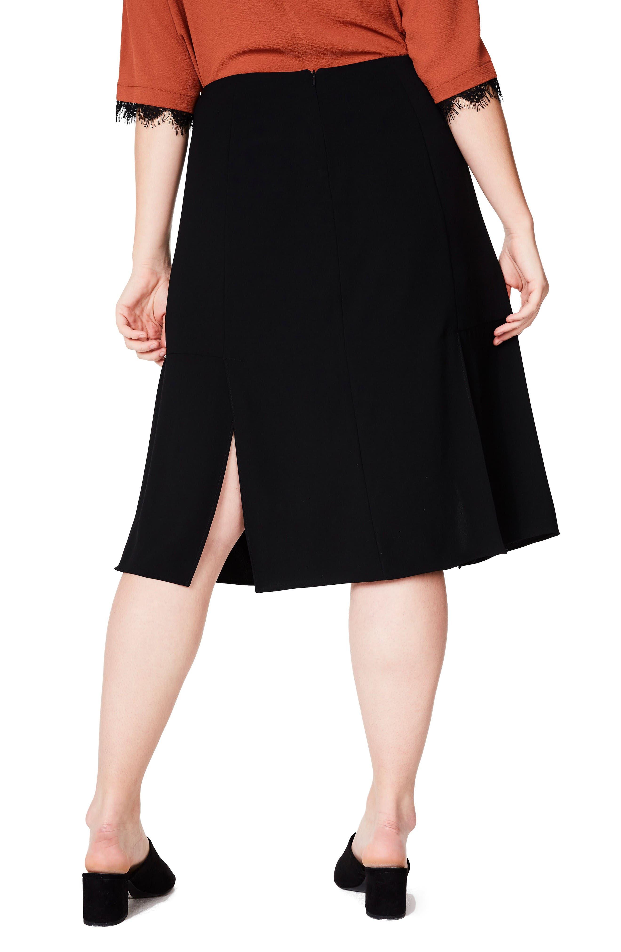 Alternate Image 3  - ELVI Slit A-Line Skirt (Plus Size)