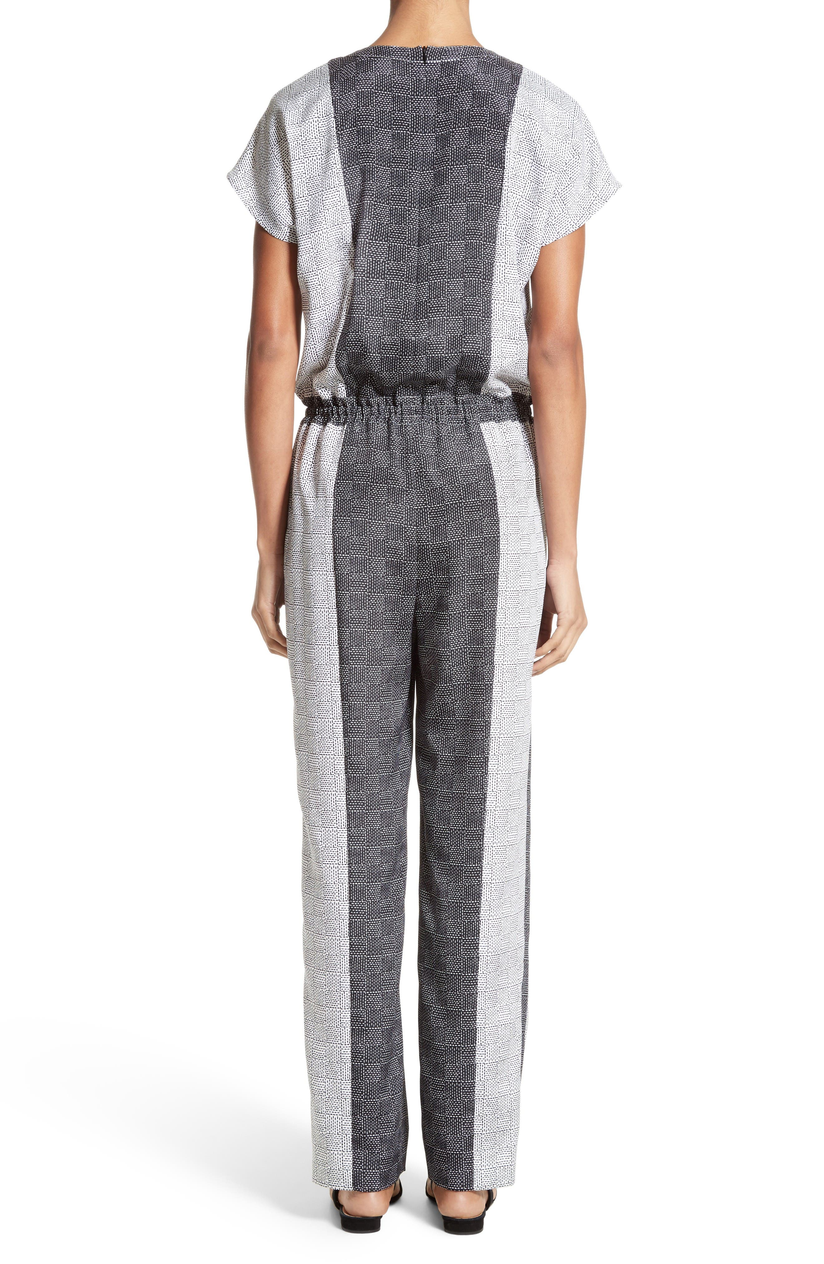 Stitch Print Stretch Silk Jumpsuit,                             Alternate thumbnail 2, color,                             Bianco/ Caviar