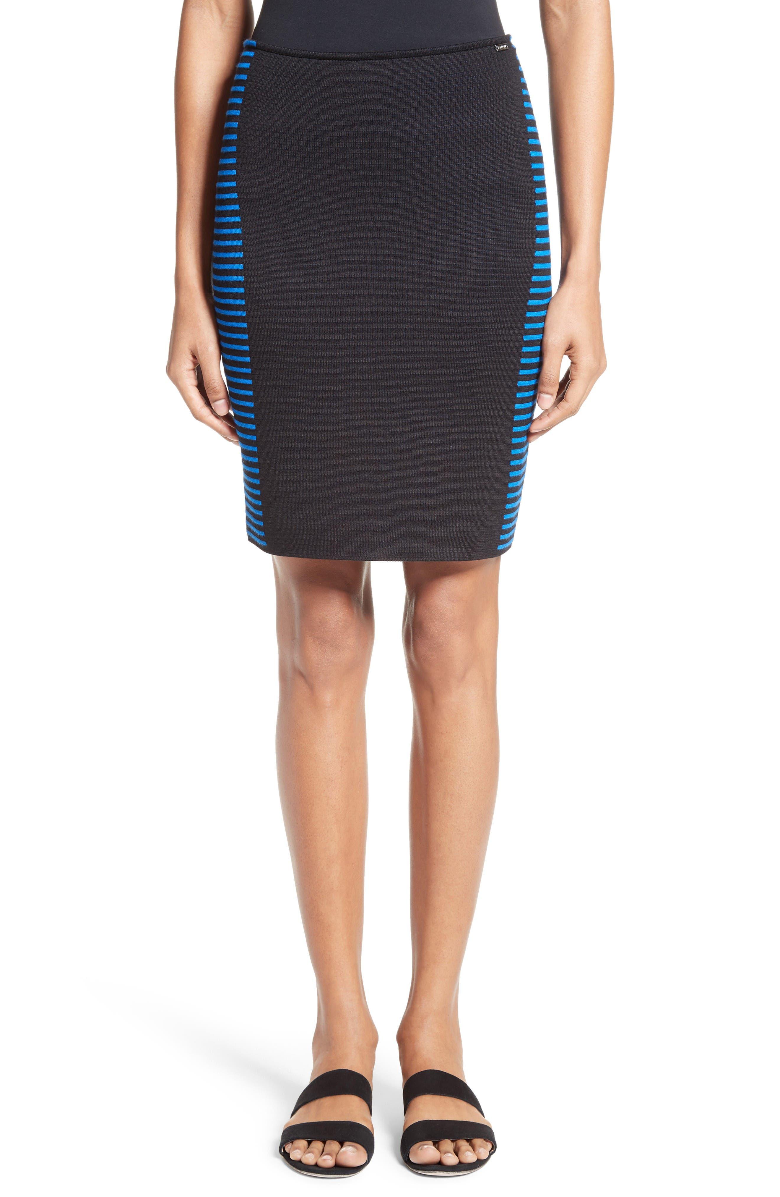 Stripe Knit Jacquard Pencil Skirt,                         Main,                         color, Caviar/ Jaya Blue