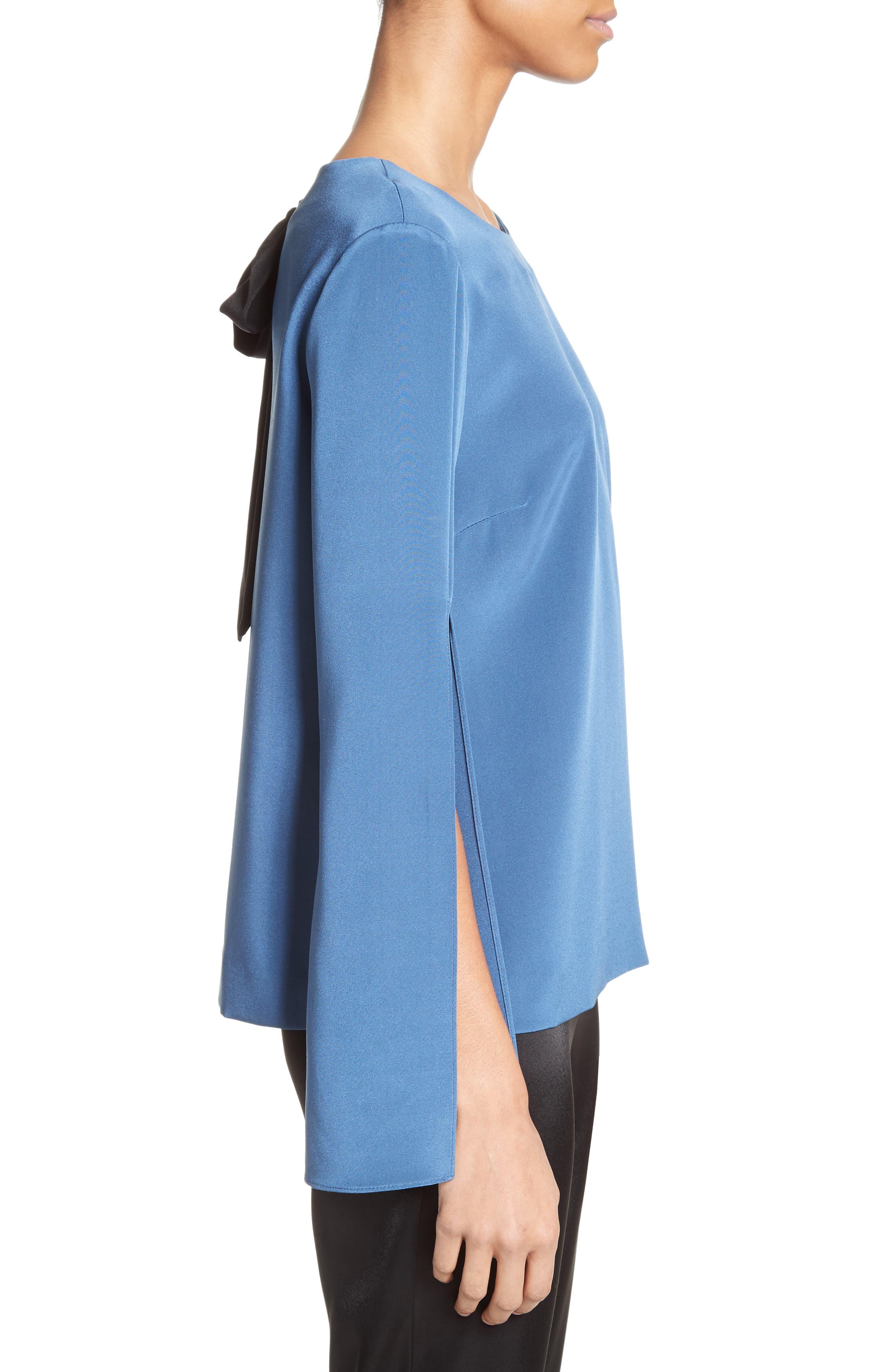 Alternate Image 3  - St. John Collection Back Bow Stretch Silk Blouse