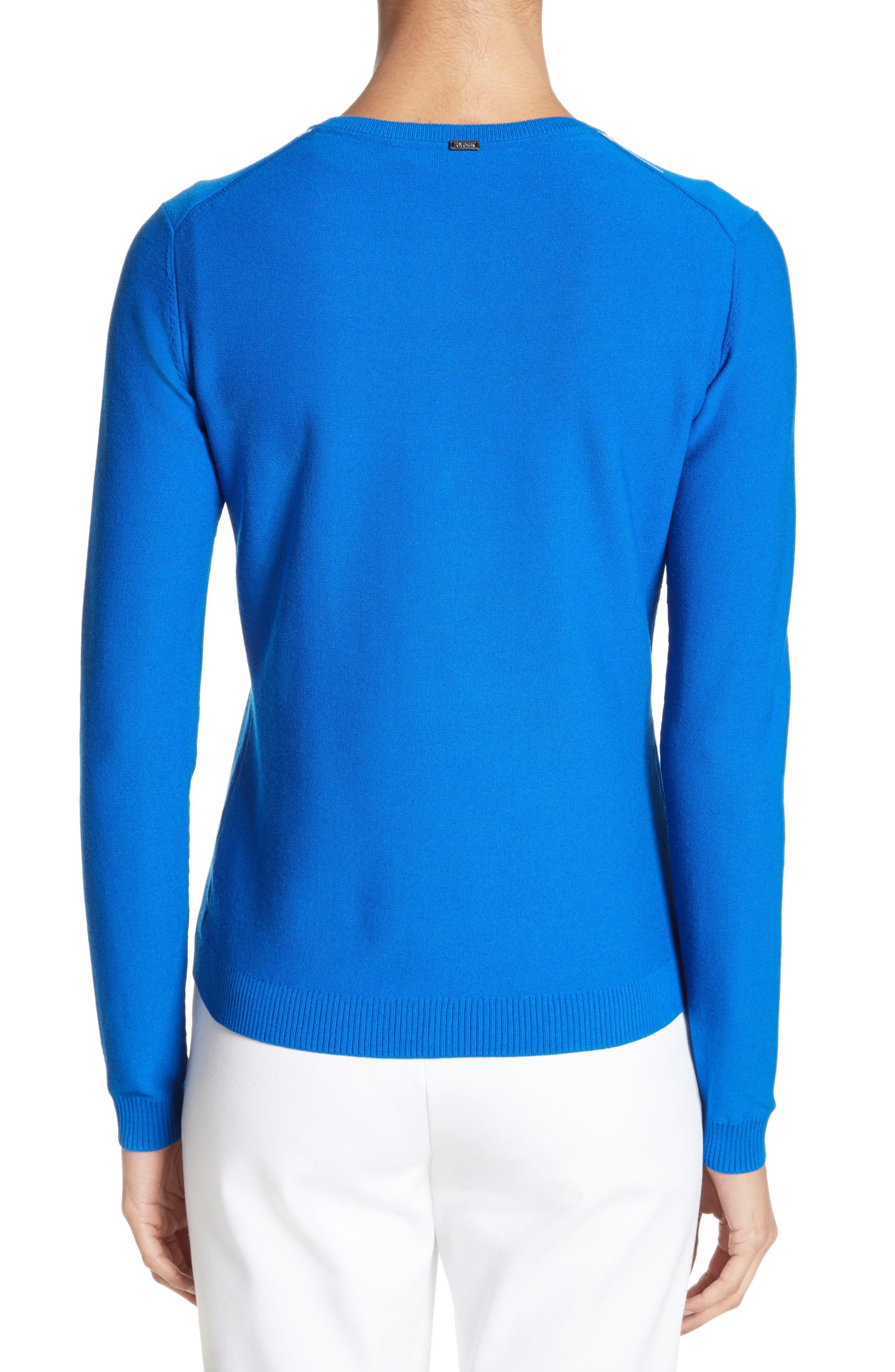 Stripe Intarsia Knit Cardigan,                             Alternate thumbnail 3, color,                             Jaya Blue/ Bianco