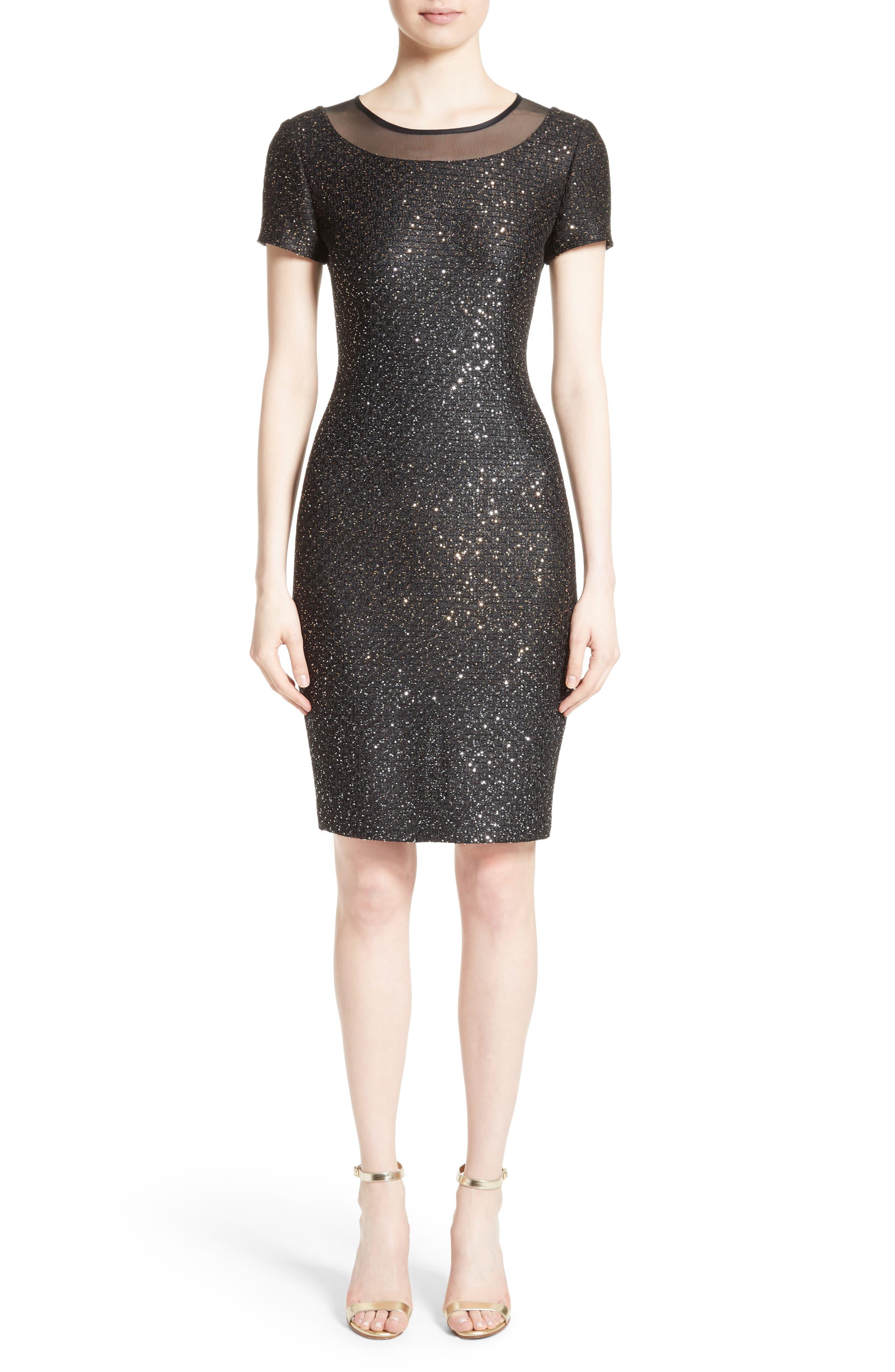 Pranay Sequin Knit Sheath Dress,                         Main,                         color, Caviar Multi