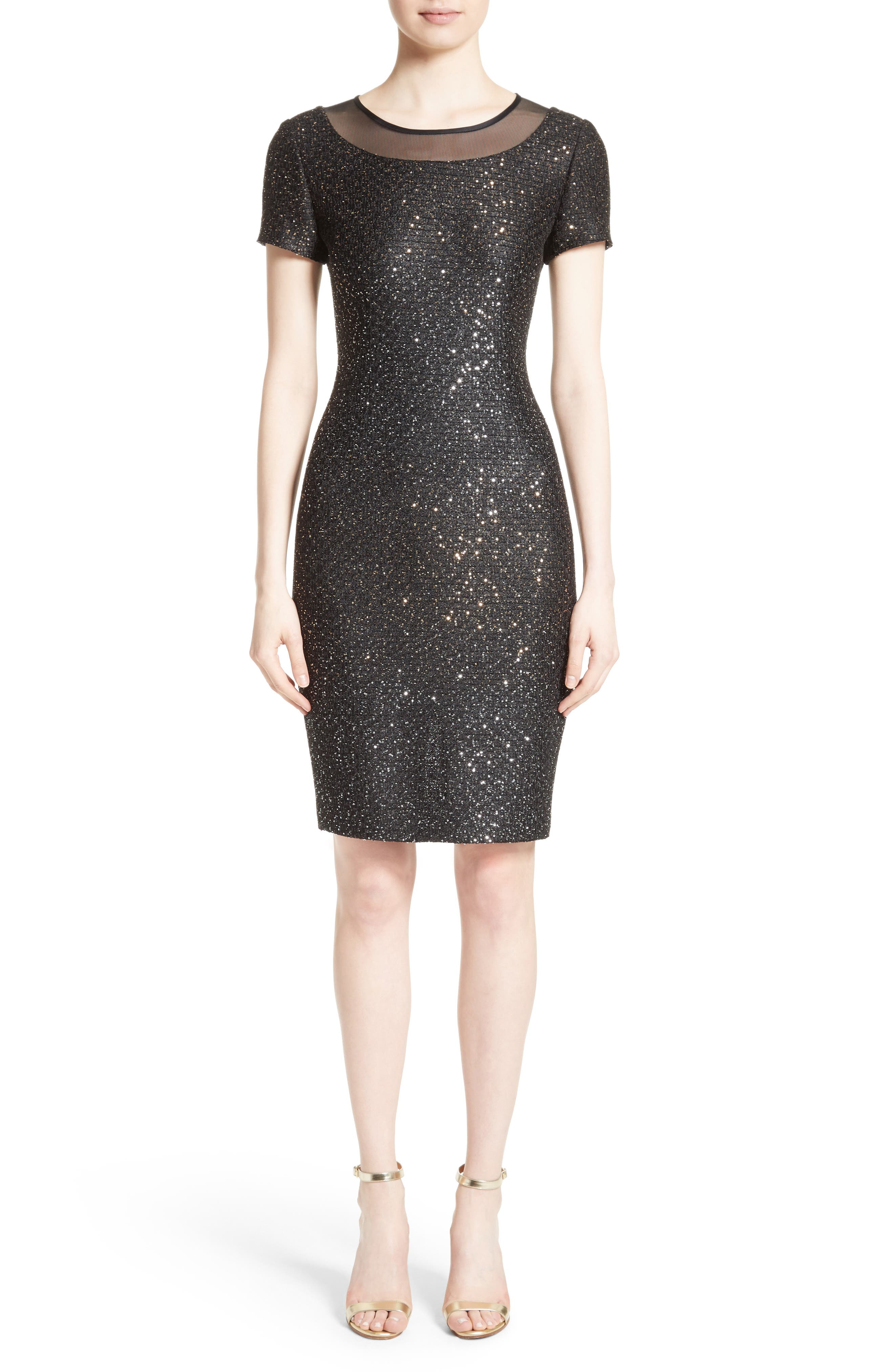 St. John Collection Pranay Sequin Knit Sheath Dress