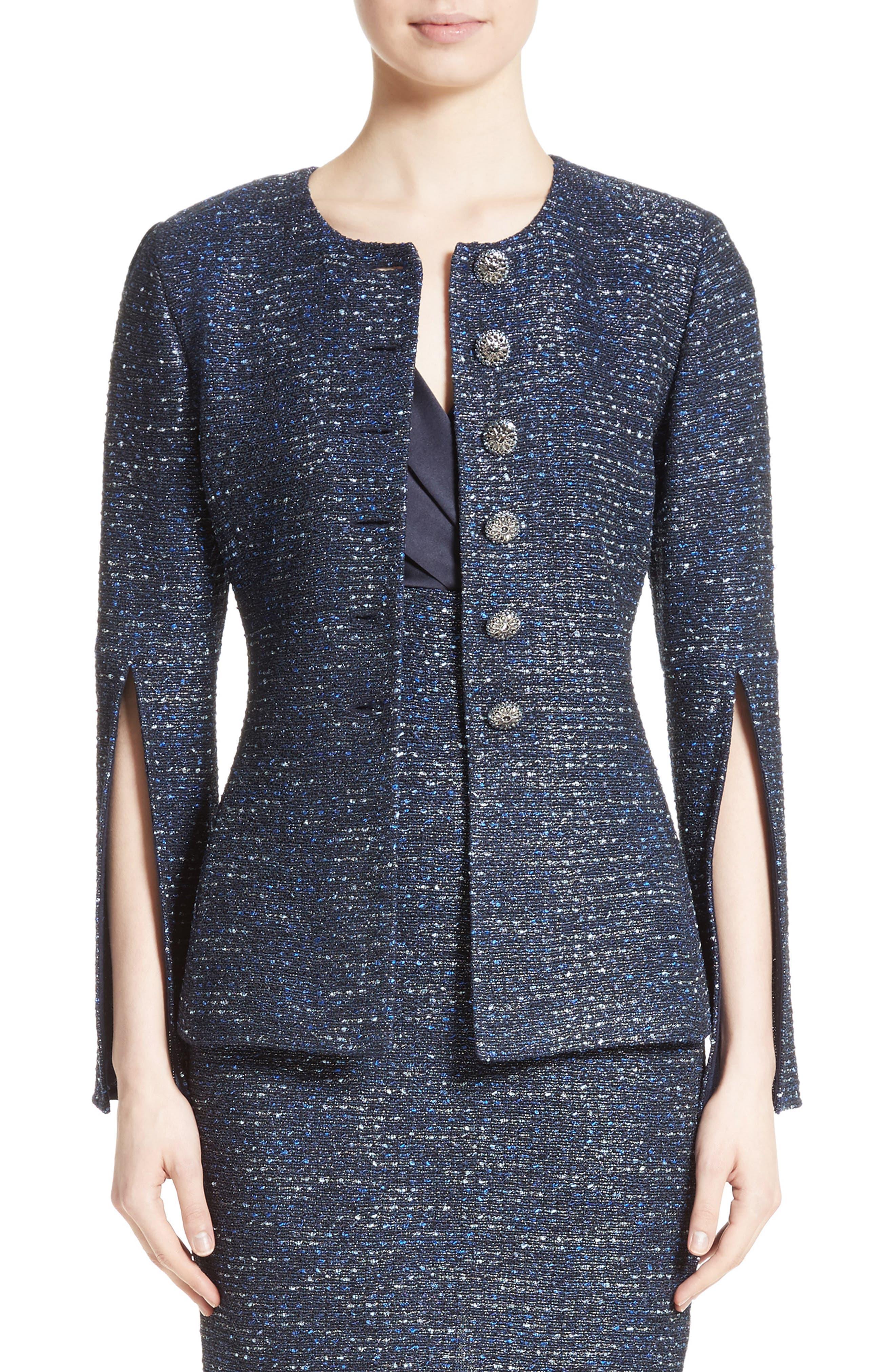 Alisha Sparkle Tweed Jacket,                         Main,                         color, Blue Multi