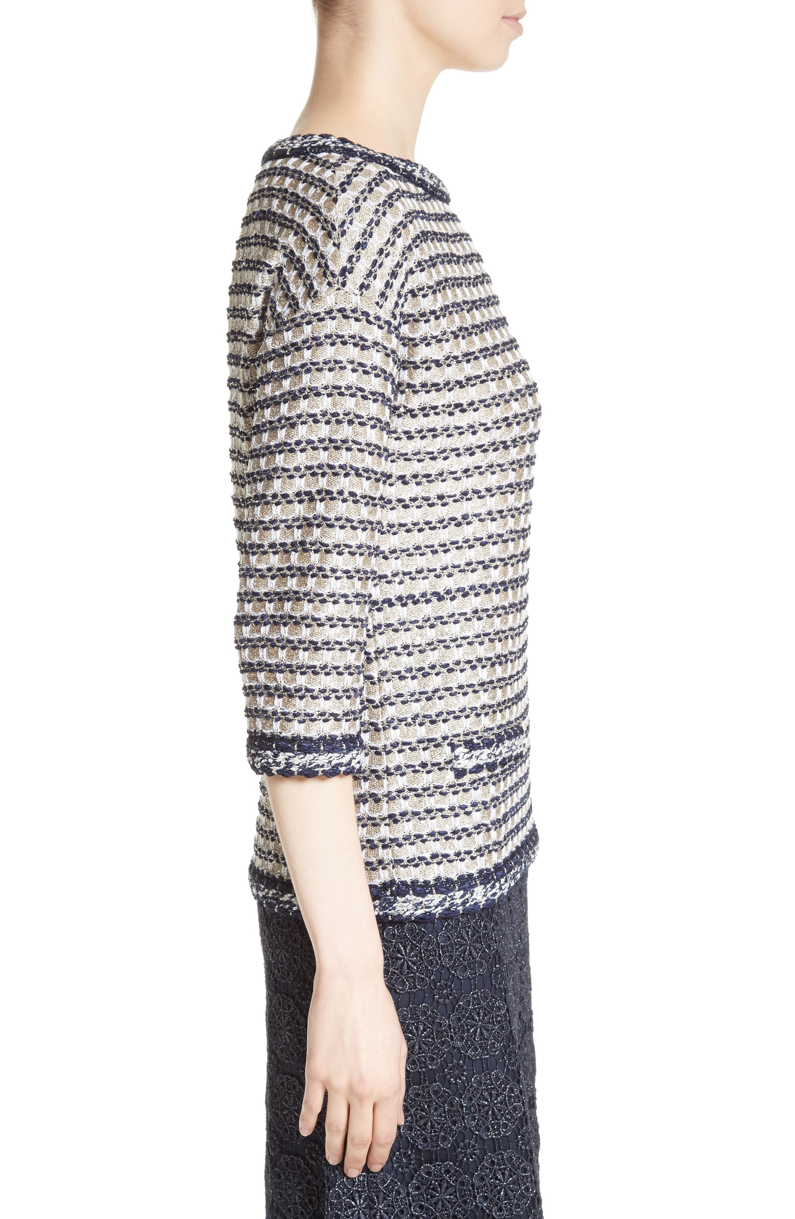 Vany Tweed Knit Top,                             Alternate thumbnail 3, color,                             Gold Multi