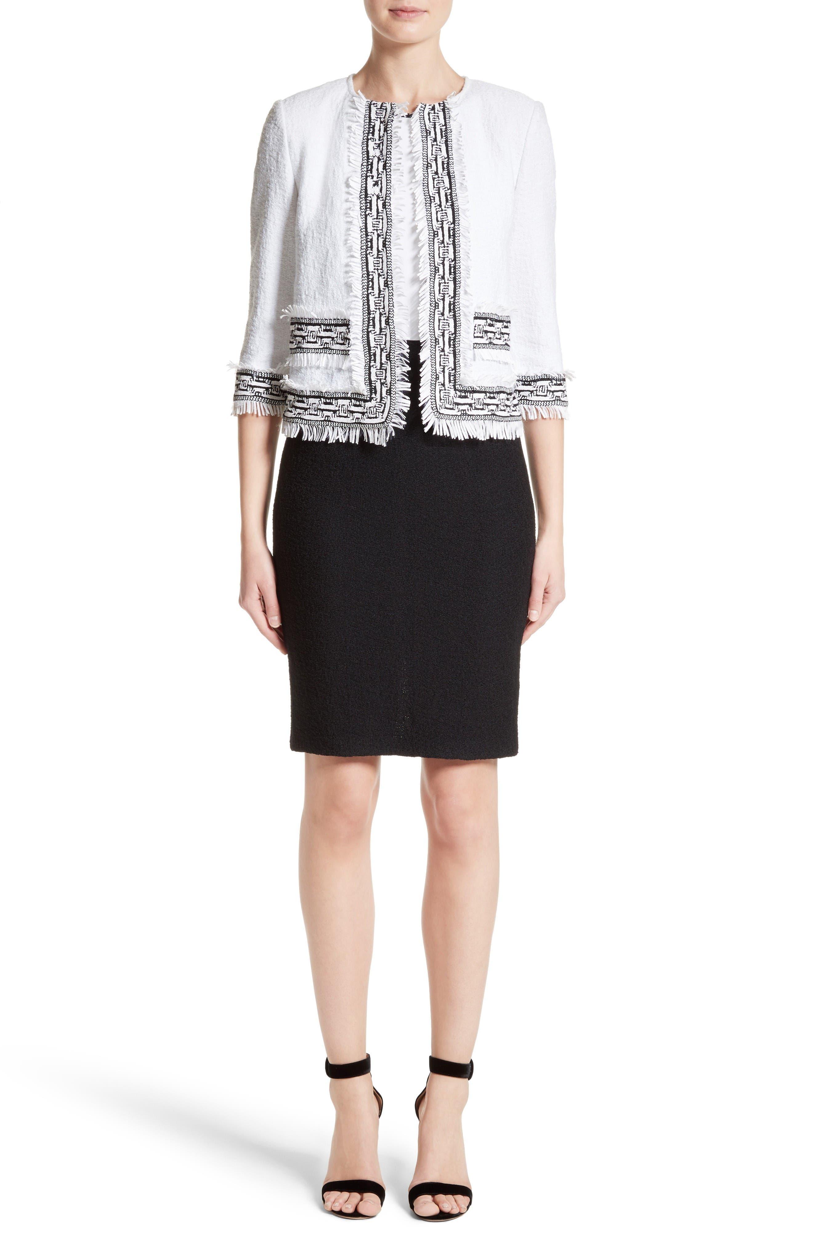 Cady Bodice Clair Knit Dress,                             Alternate thumbnail 8, color,                             Bianco/ Caviar