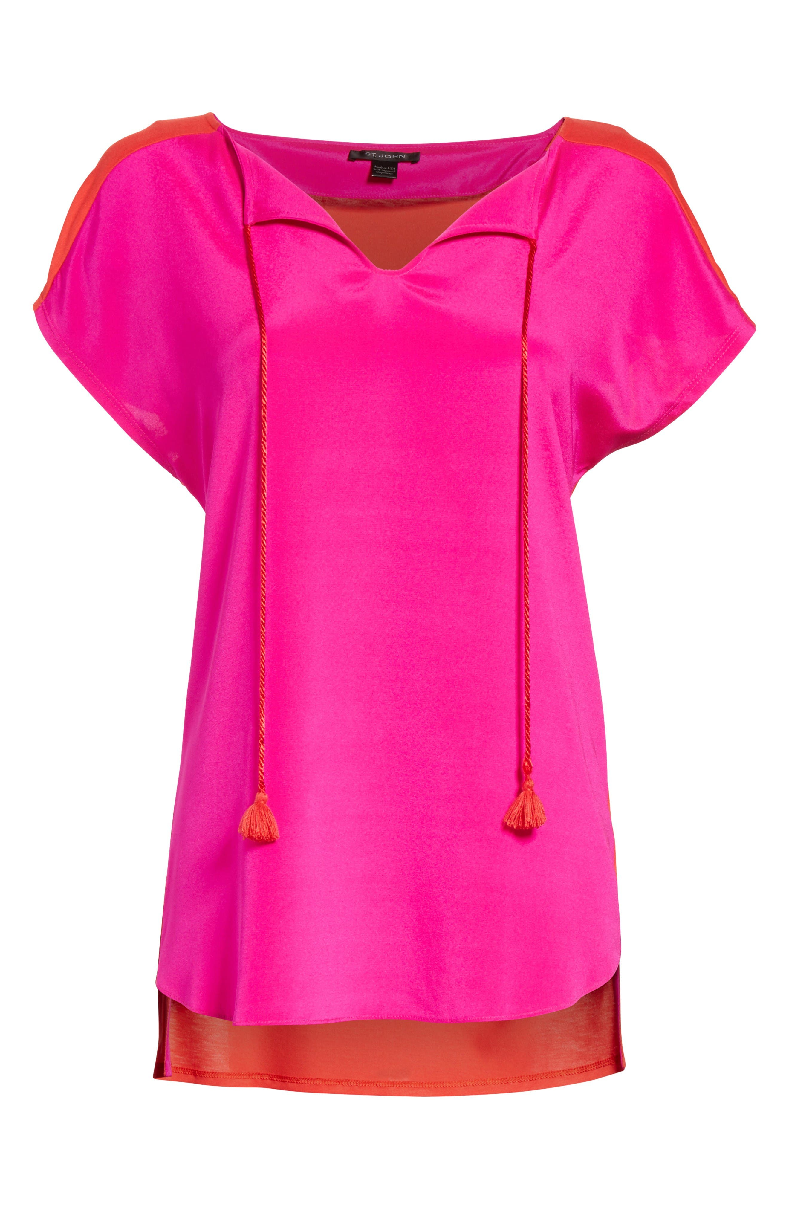 Alternate Image 6  - St. John Collection Stretch Silk & Jersey Tassel Blouse