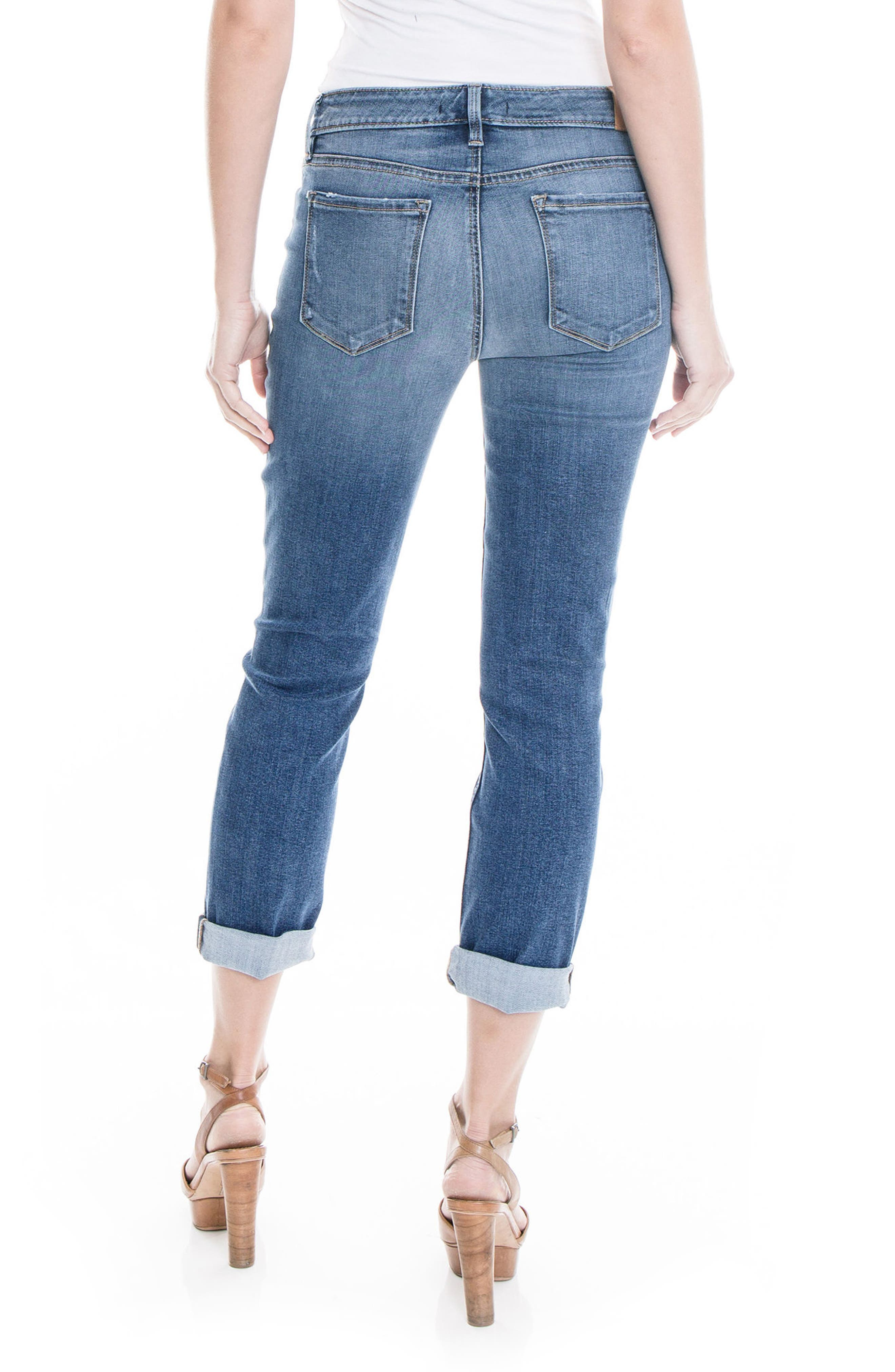 Lily Stretch Distressed Crop Cuff Jeans,                             Alternate thumbnail 2, color,                             Eastbank