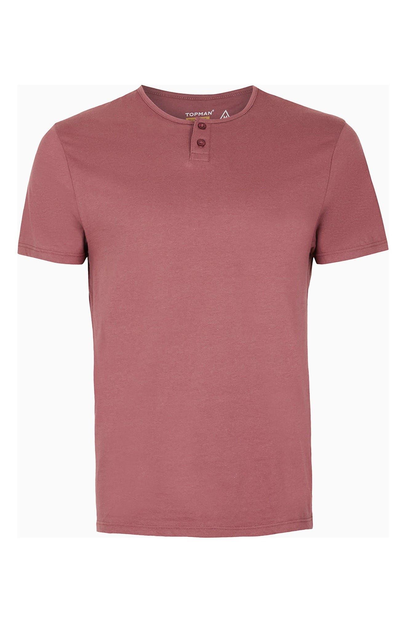 Short Sleeve Henley T-Shirt,                             Alternate thumbnail 5, color,                             Light Red