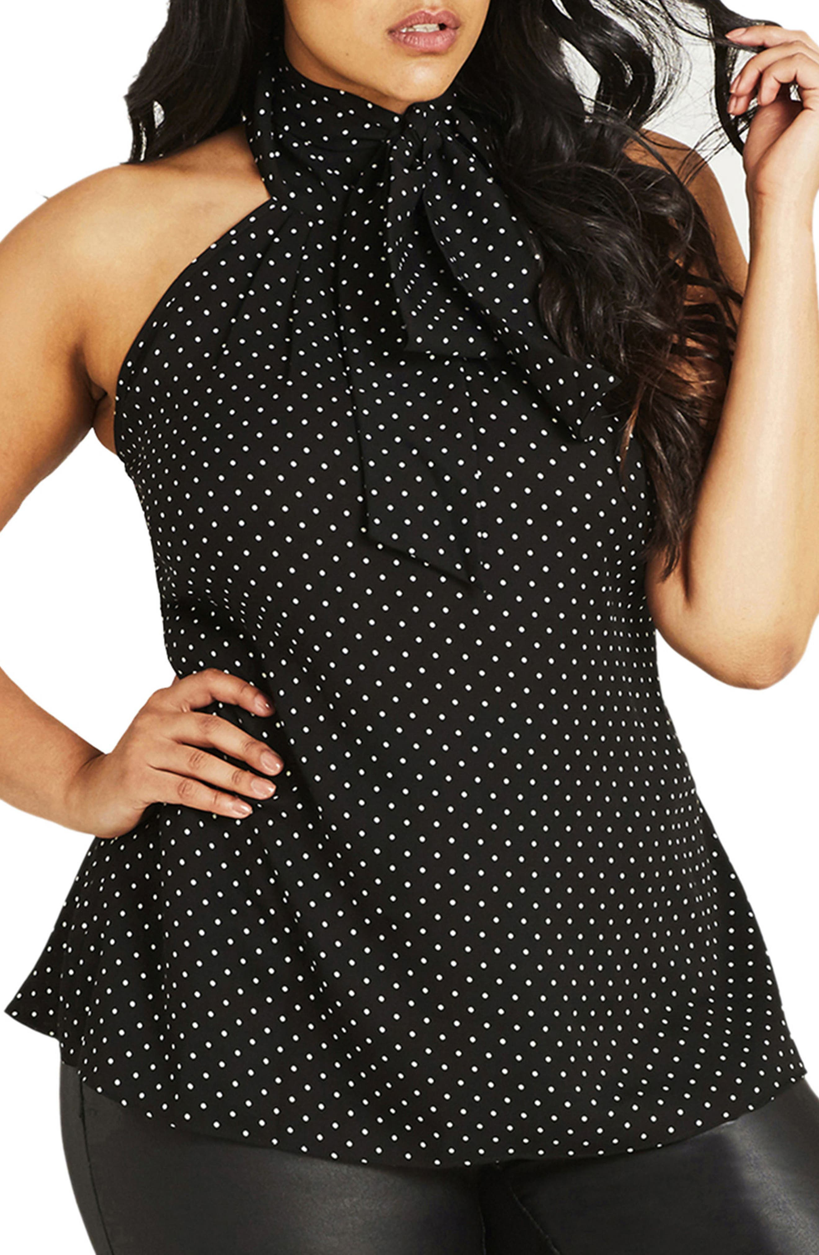 Bow Spot Top,                         Main,                         color, Black