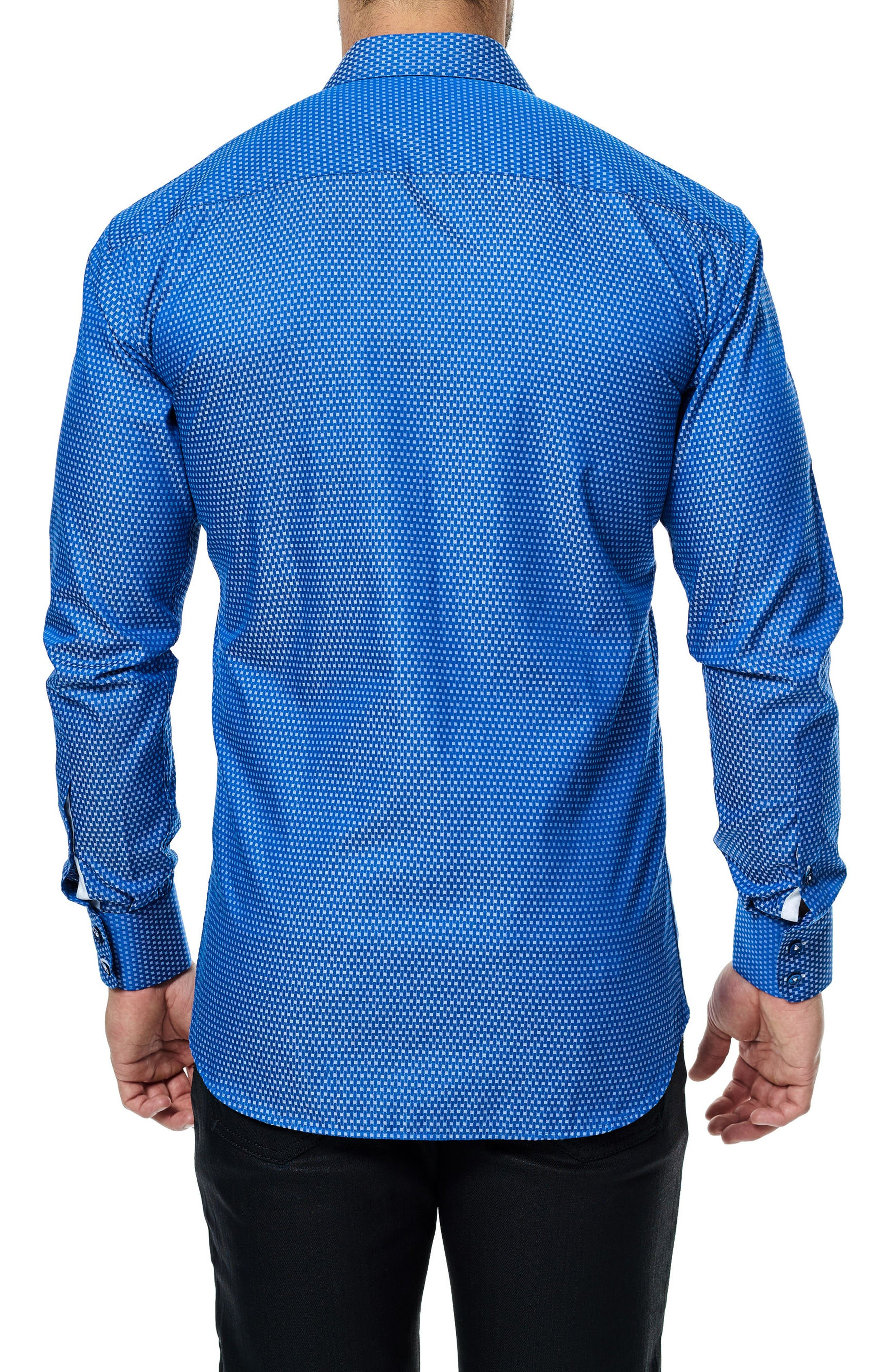 Wall Street Jacquard Sport Shirt,                             Alternate thumbnail 2, color,                             Medium Blue