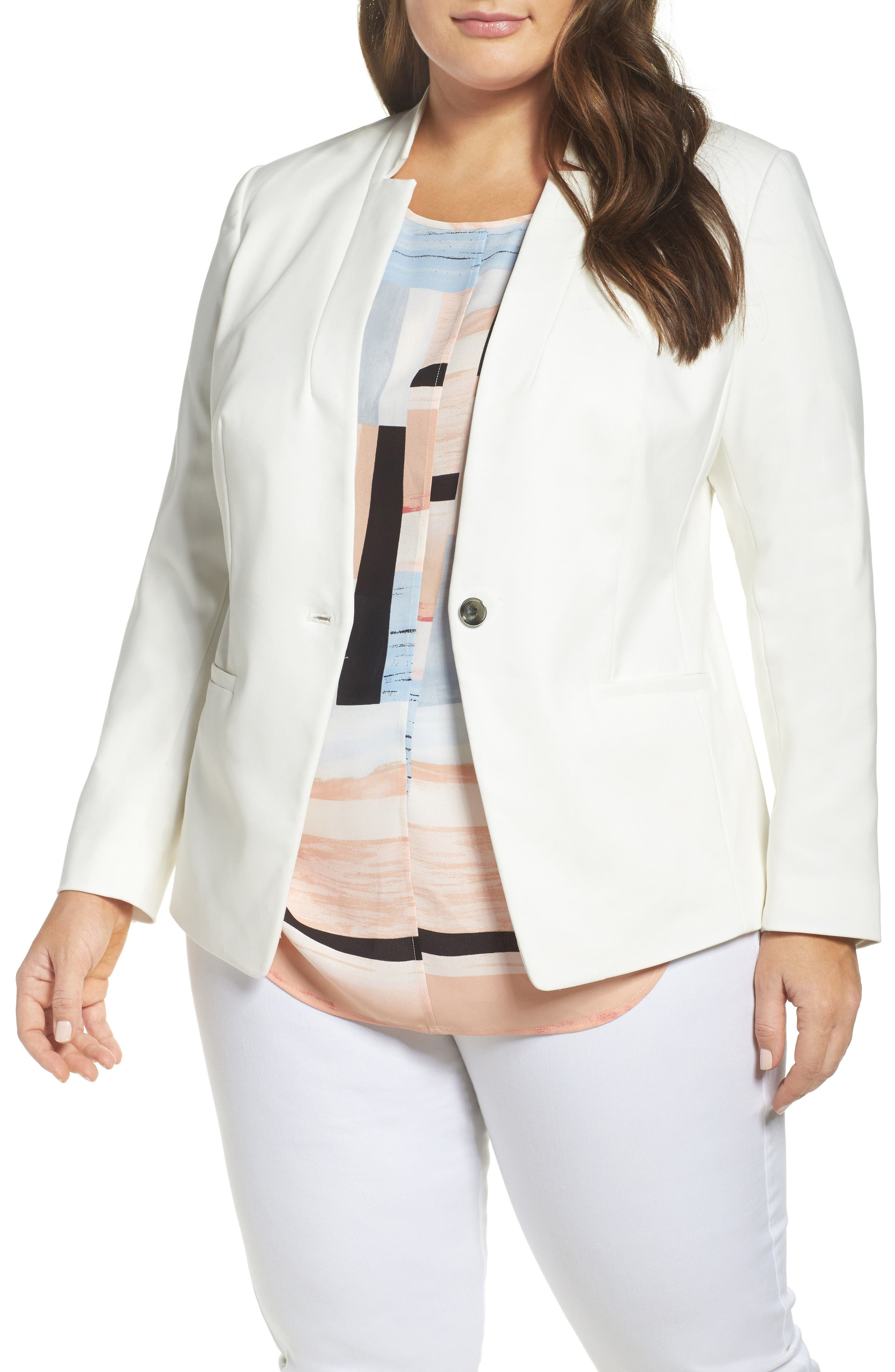 One-Button Blazer,                         Main,                         color, New Ivory