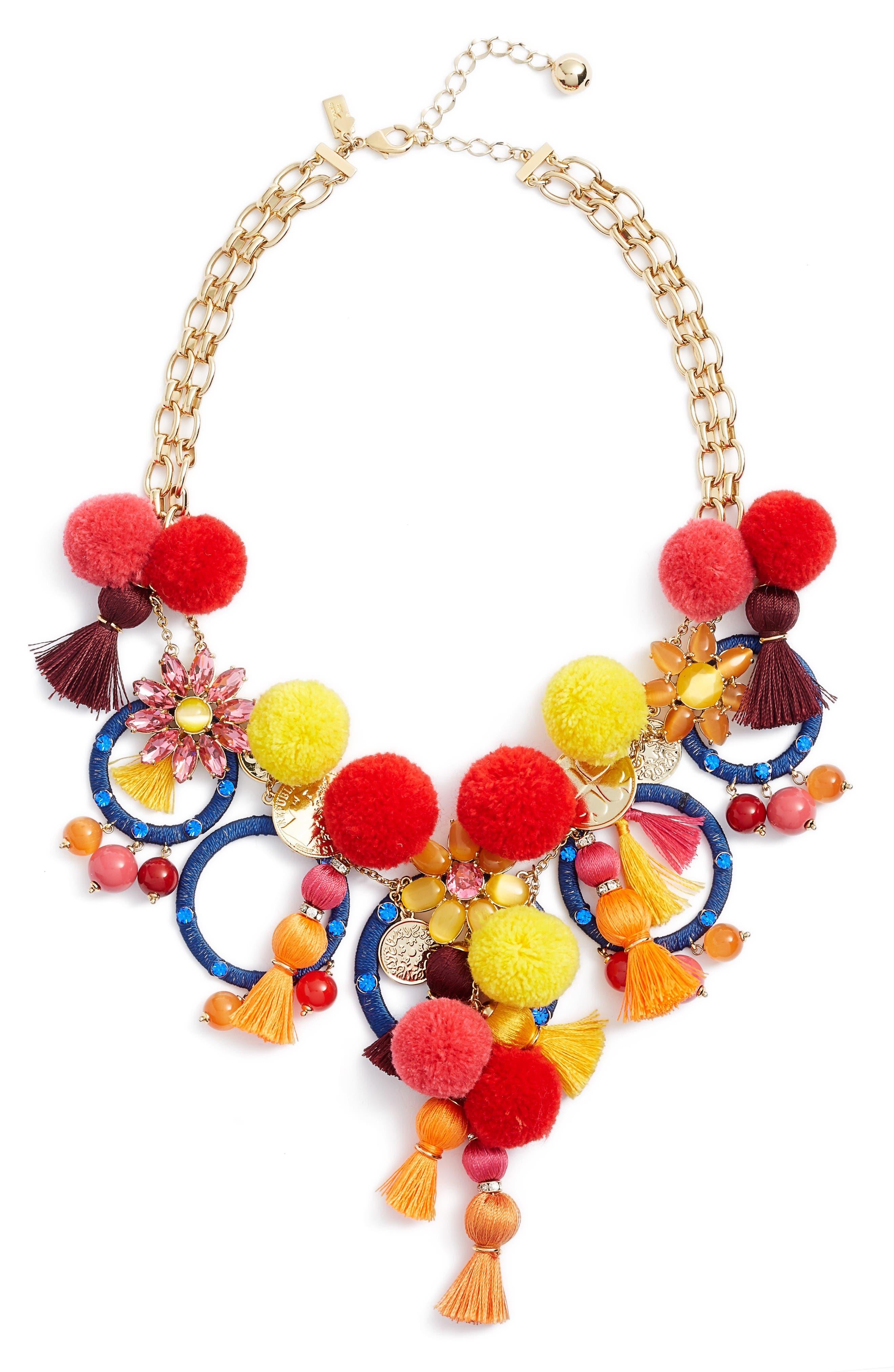 pretty poms statement necklace,                         Main,                         color, Multi