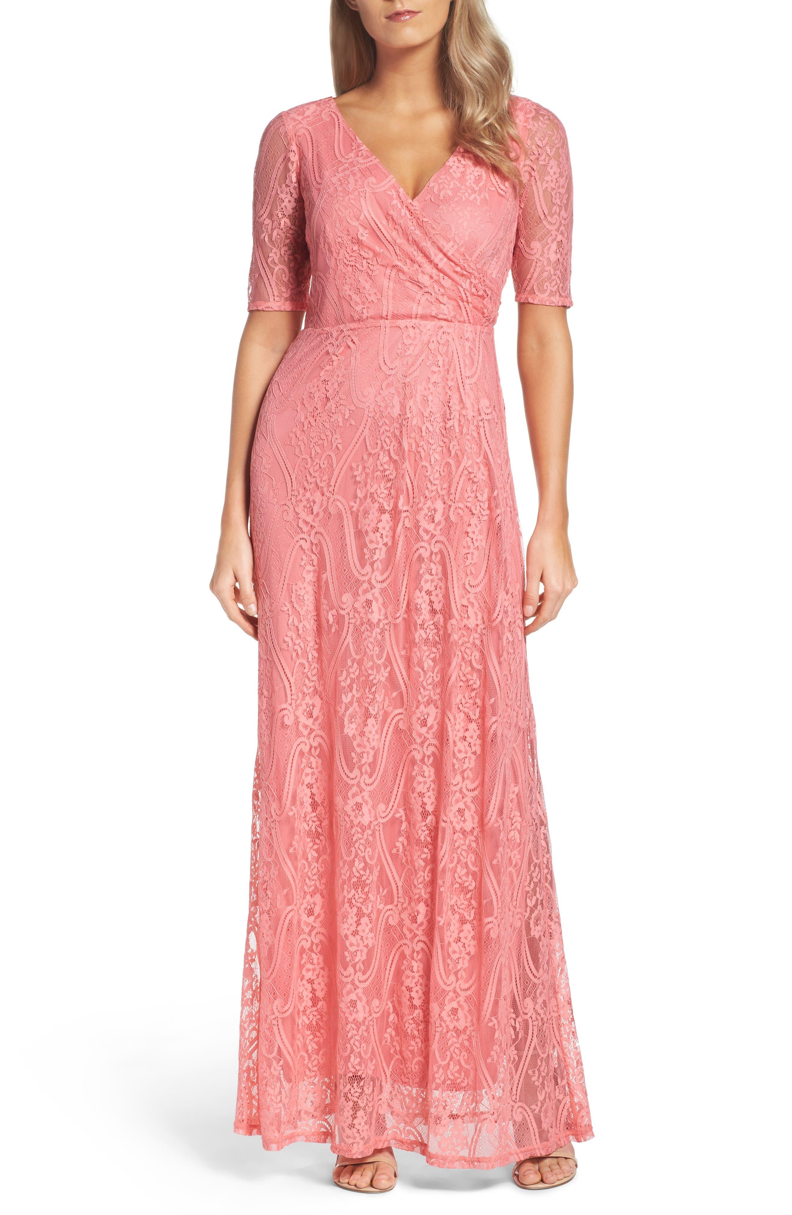 Lace Faux Wrap Gown,                         Main,                         color, Rose