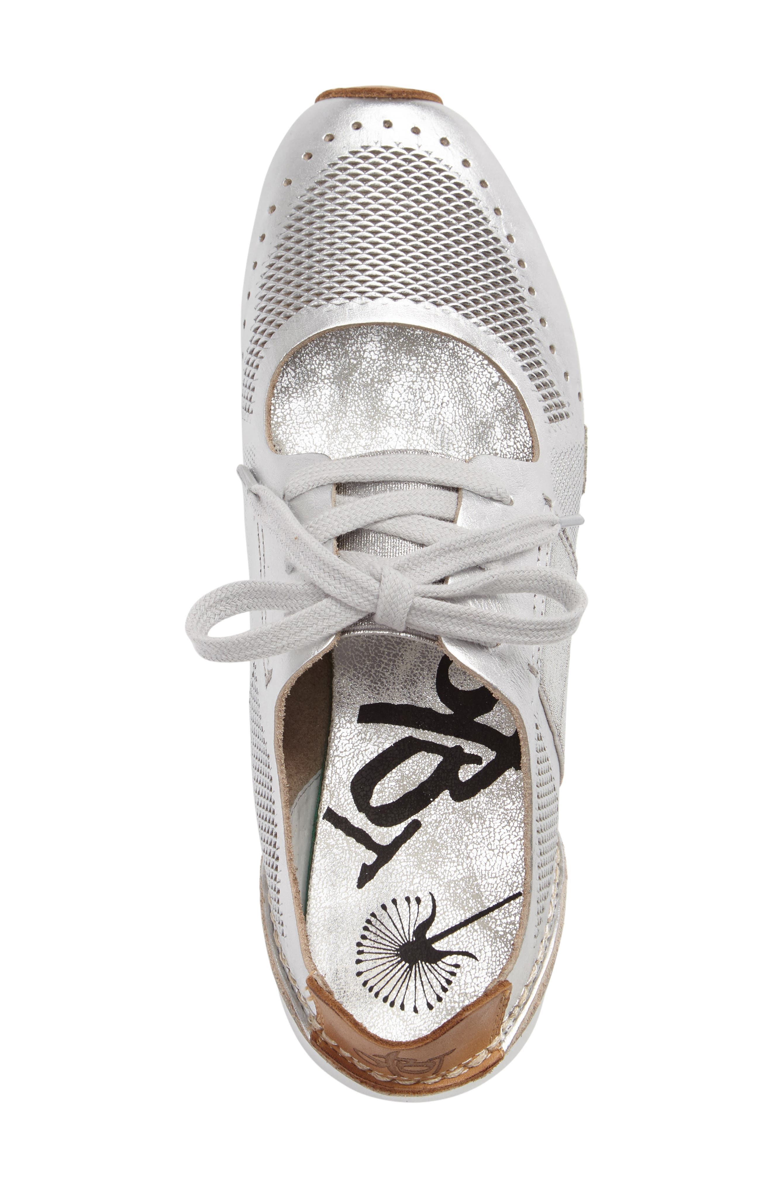 Star Dust Cutout Sneaker,                             Alternate thumbnail 3, color,                             Silver Leather