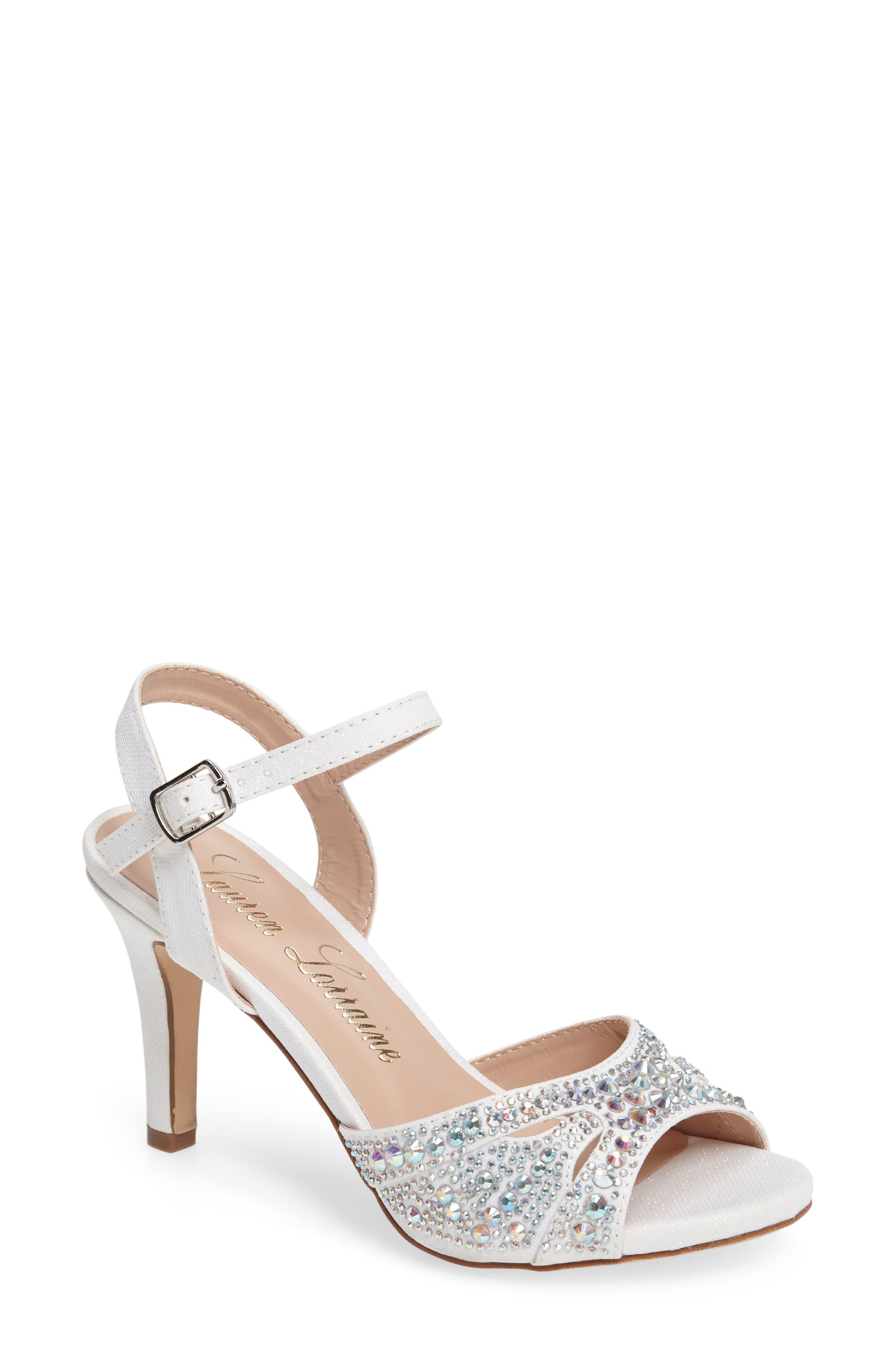 Florence Crystal Embellished Sandal,                             Main thumbnail 1, color,                             White