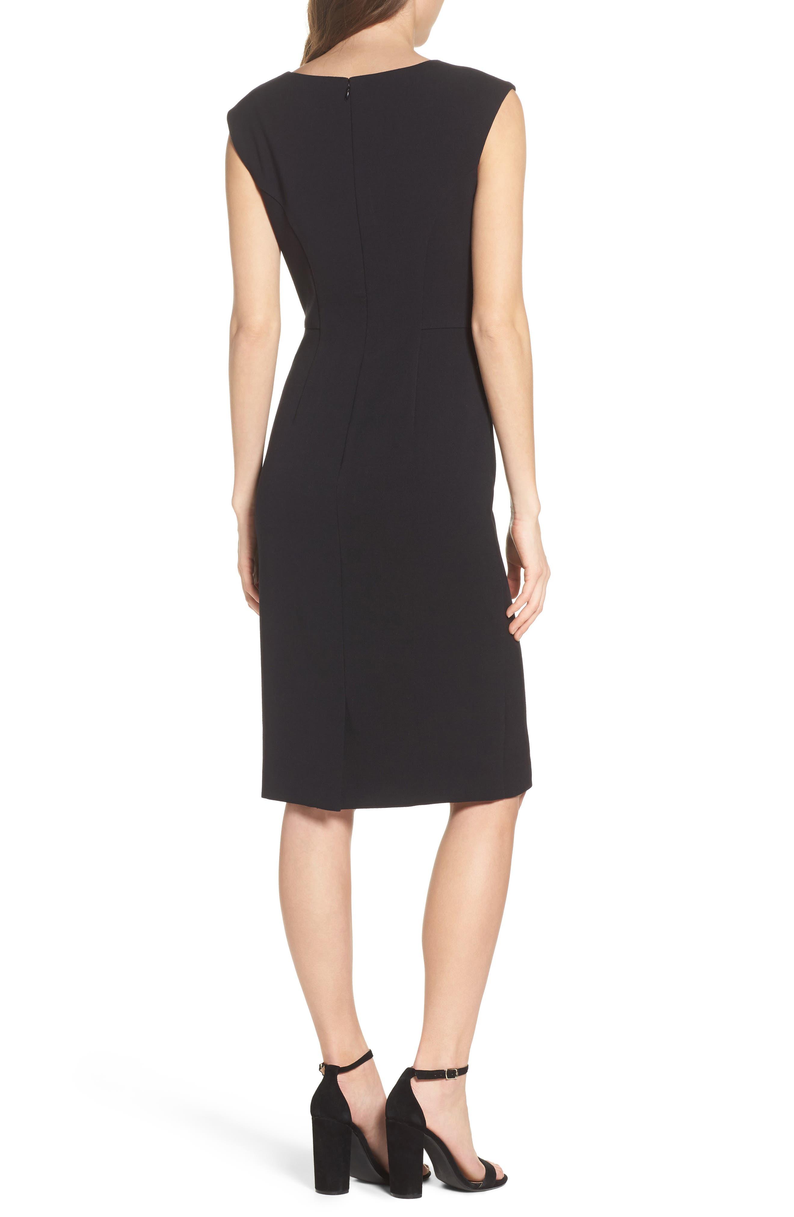 Crepe Sheath Dress,                             Alternate thumbnail 3, color,                             Black