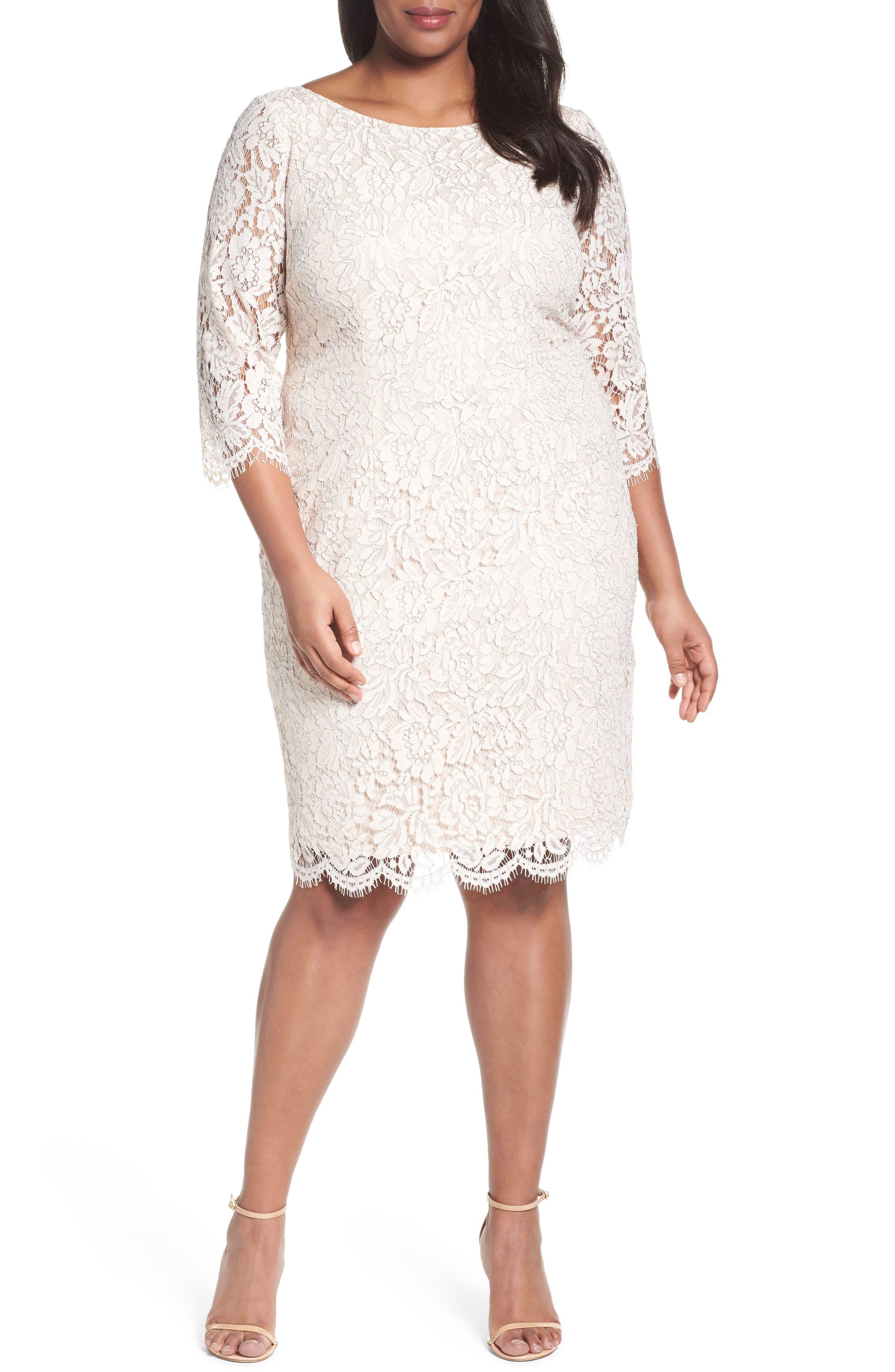 Adrianna Papell Metallic Lace Sheath Dress (Plus Size)