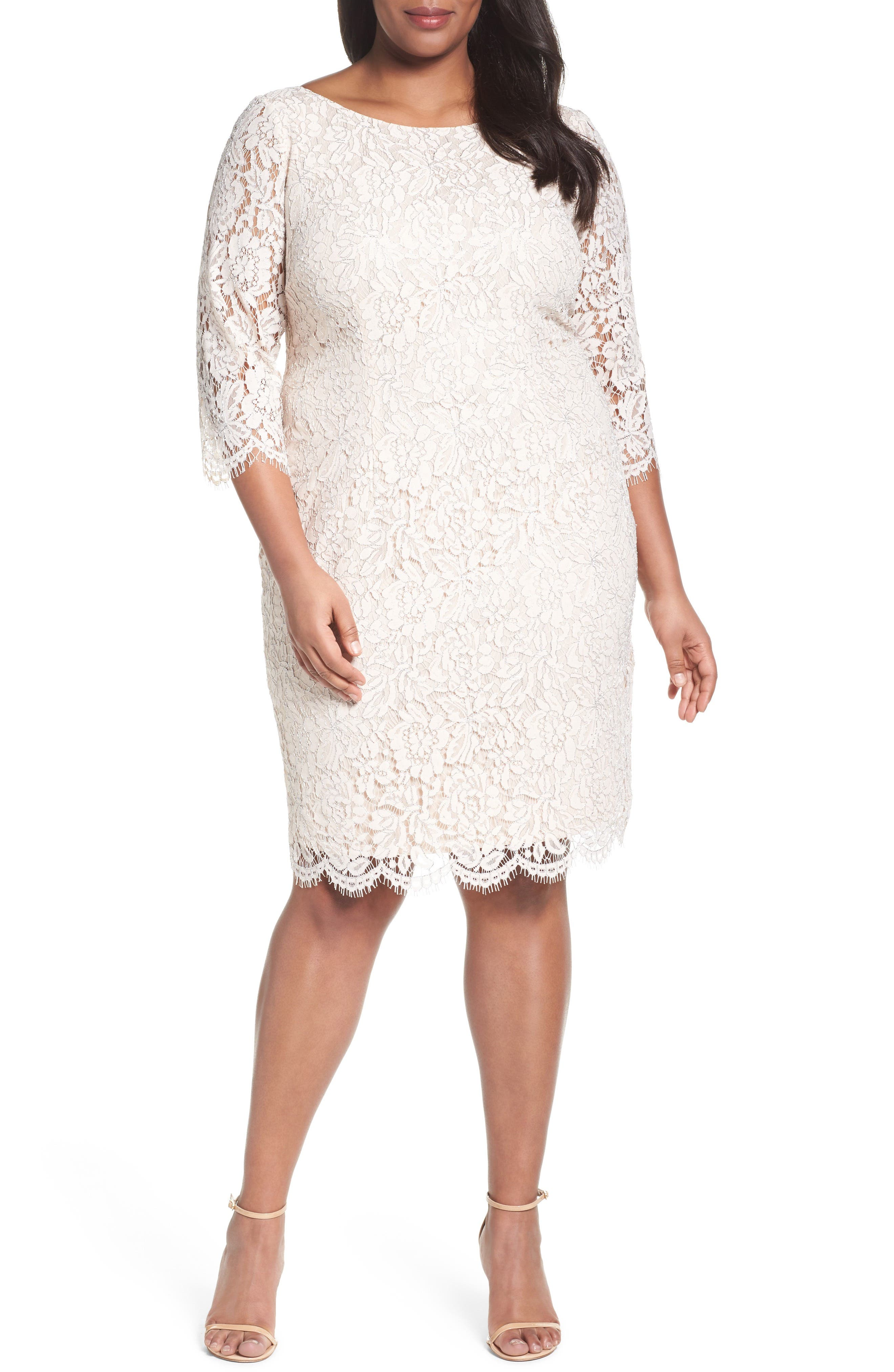Adrianna Papell Metallic Lace Sheath Dress (Plus Size)