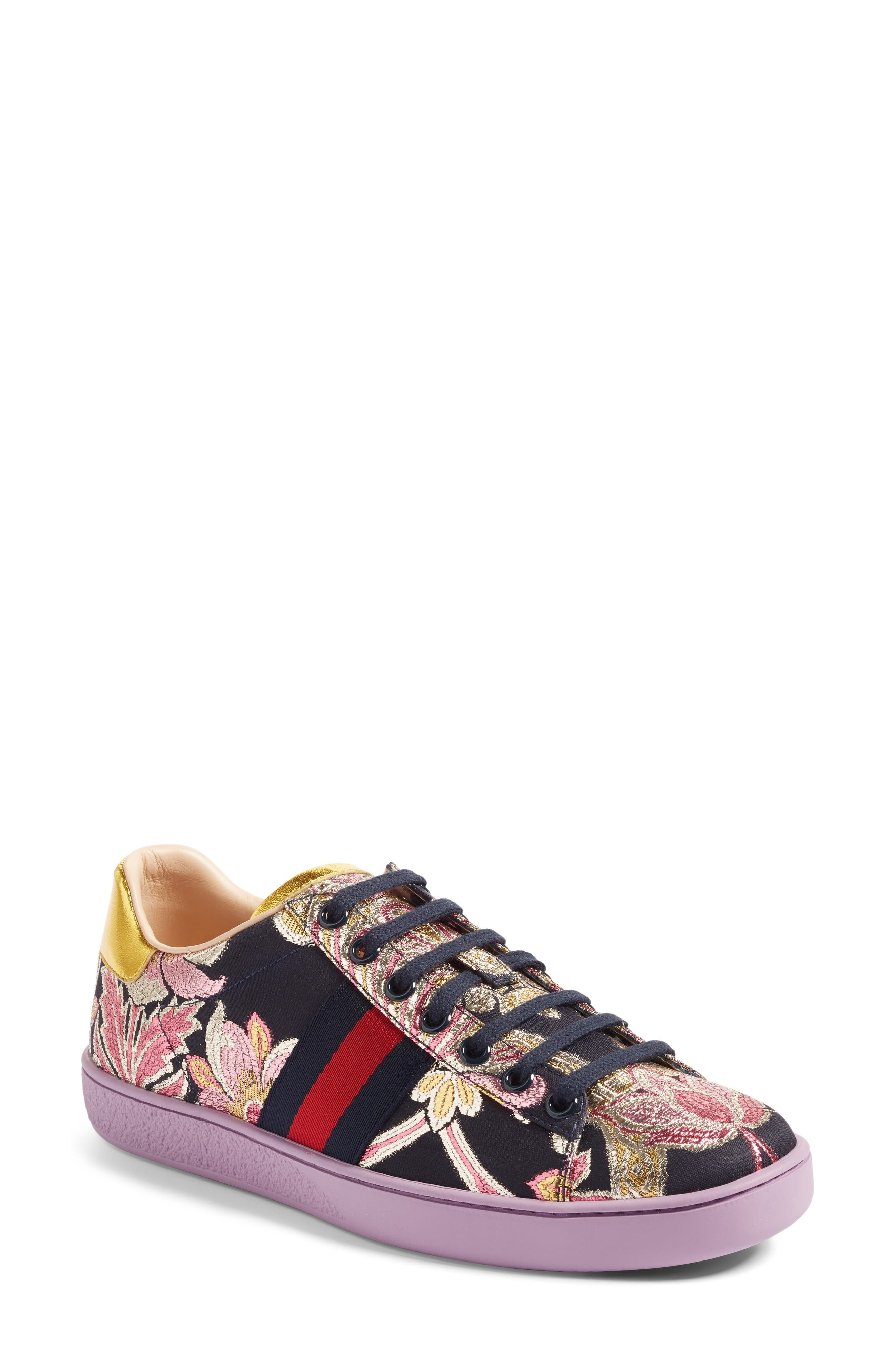 Alternate Image 1 Selected - Gucci New Ace Floral Sneaker (Women)